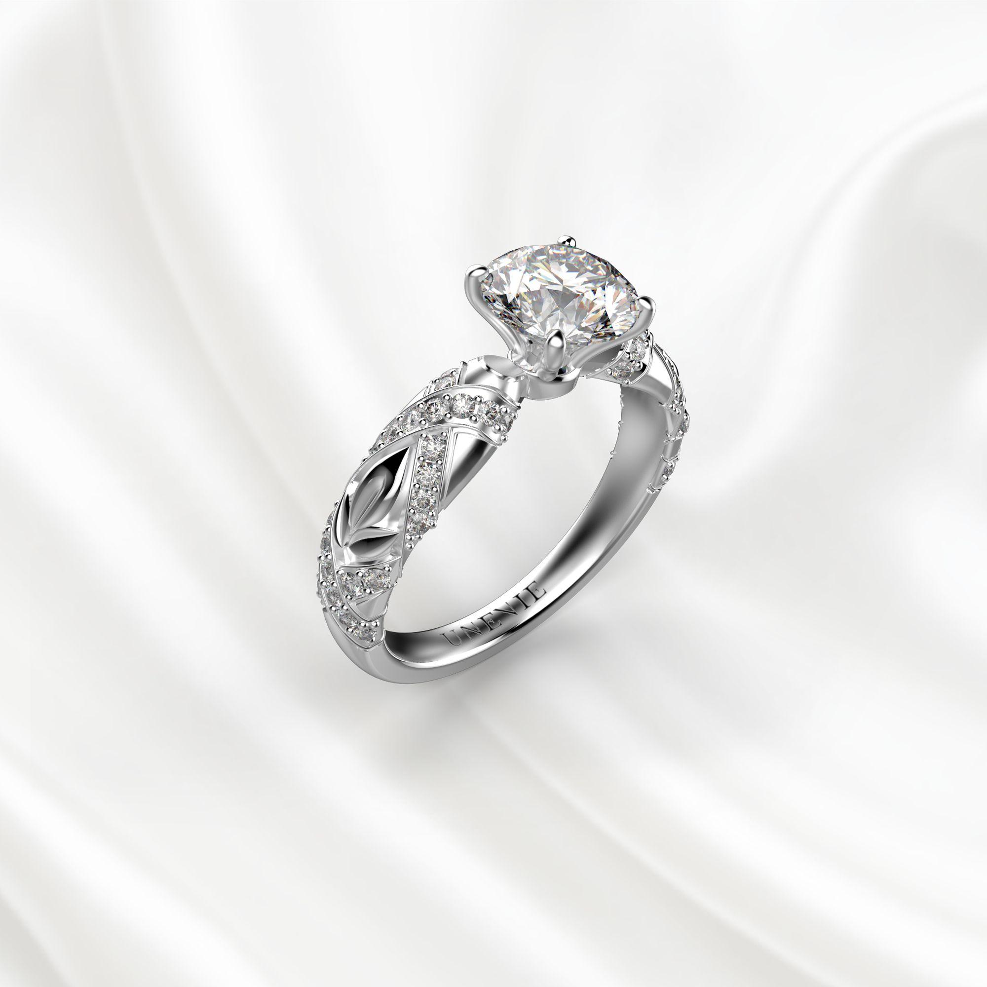 N17 Помолвочное кольцо из белого золота c 51 бриллиантом
