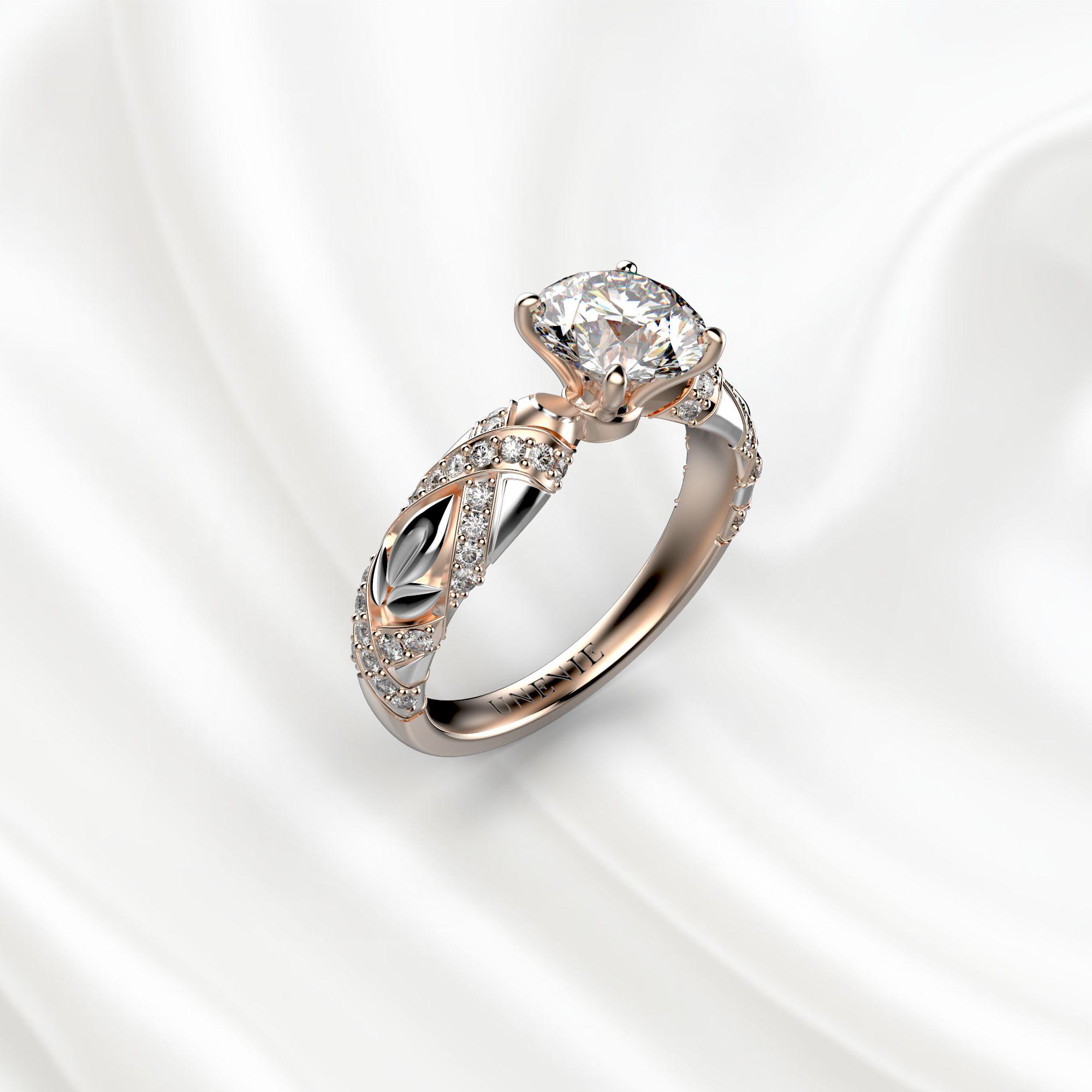 N17 Помолвочное кольцо из розово-белого золота c 51 бриллиантом