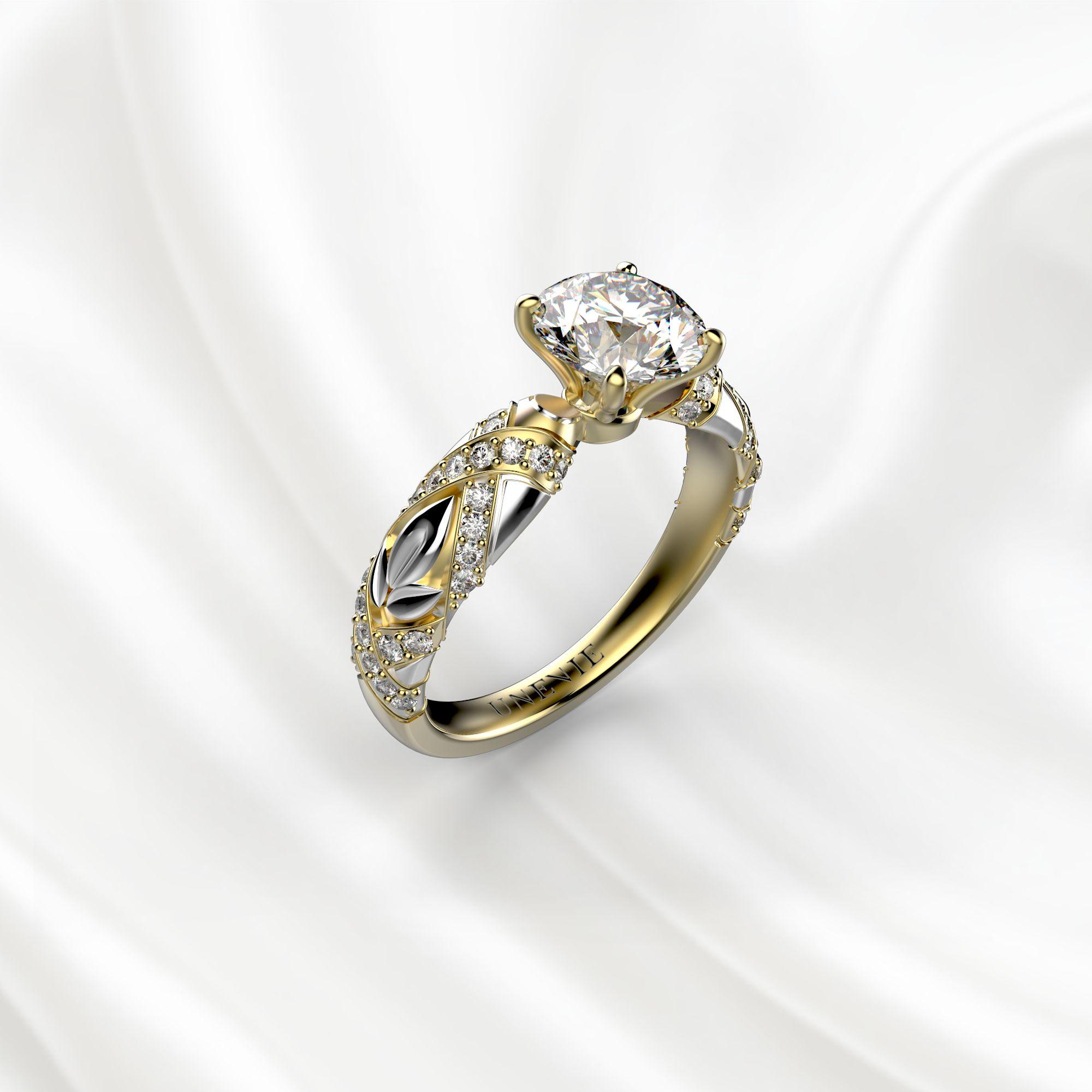 N17 Помолвочное кольцо из желто-белого золота c 51 бриллиантом