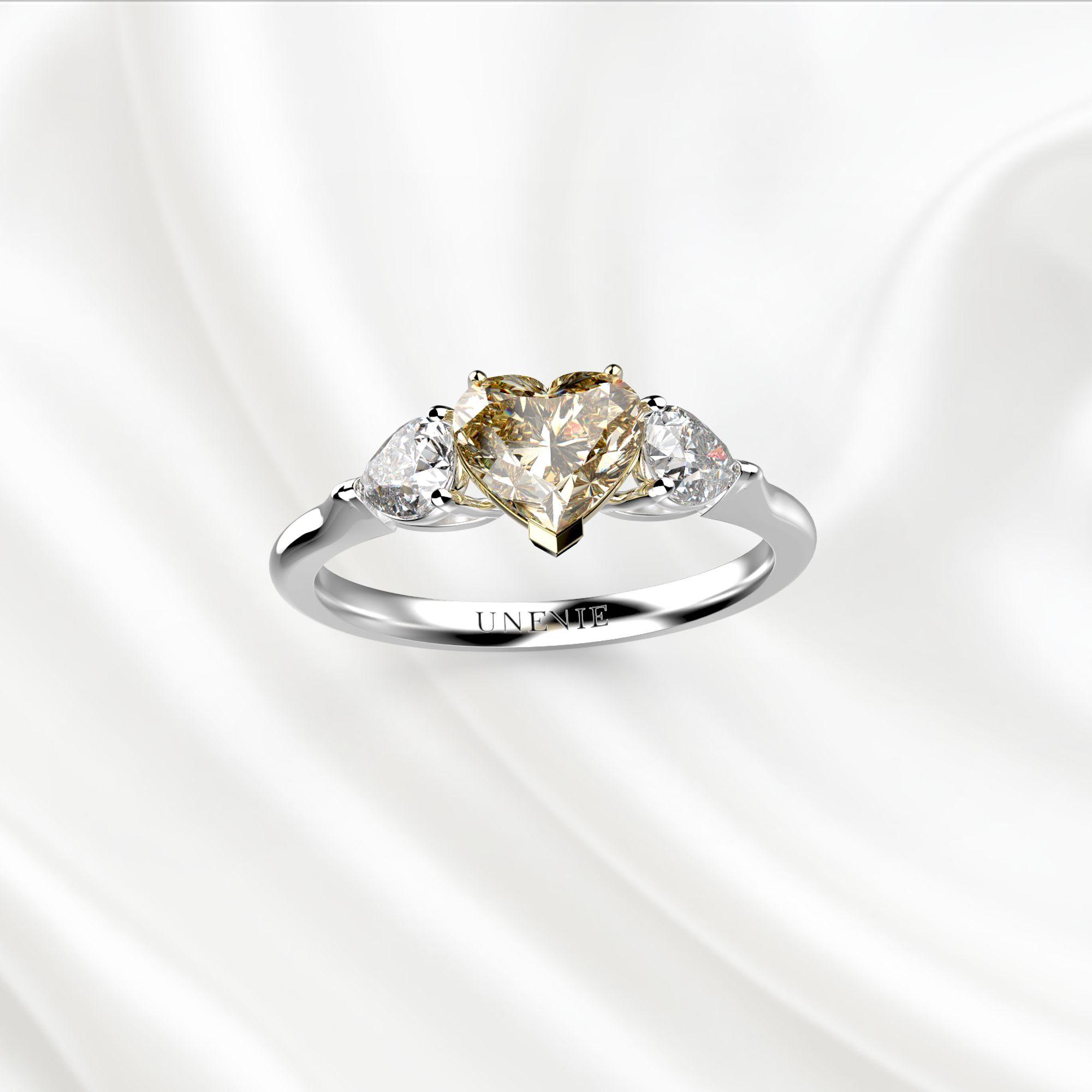 N18 Помолвочное кольцо из белого золота с желтым бриллиантом 0.5 карат