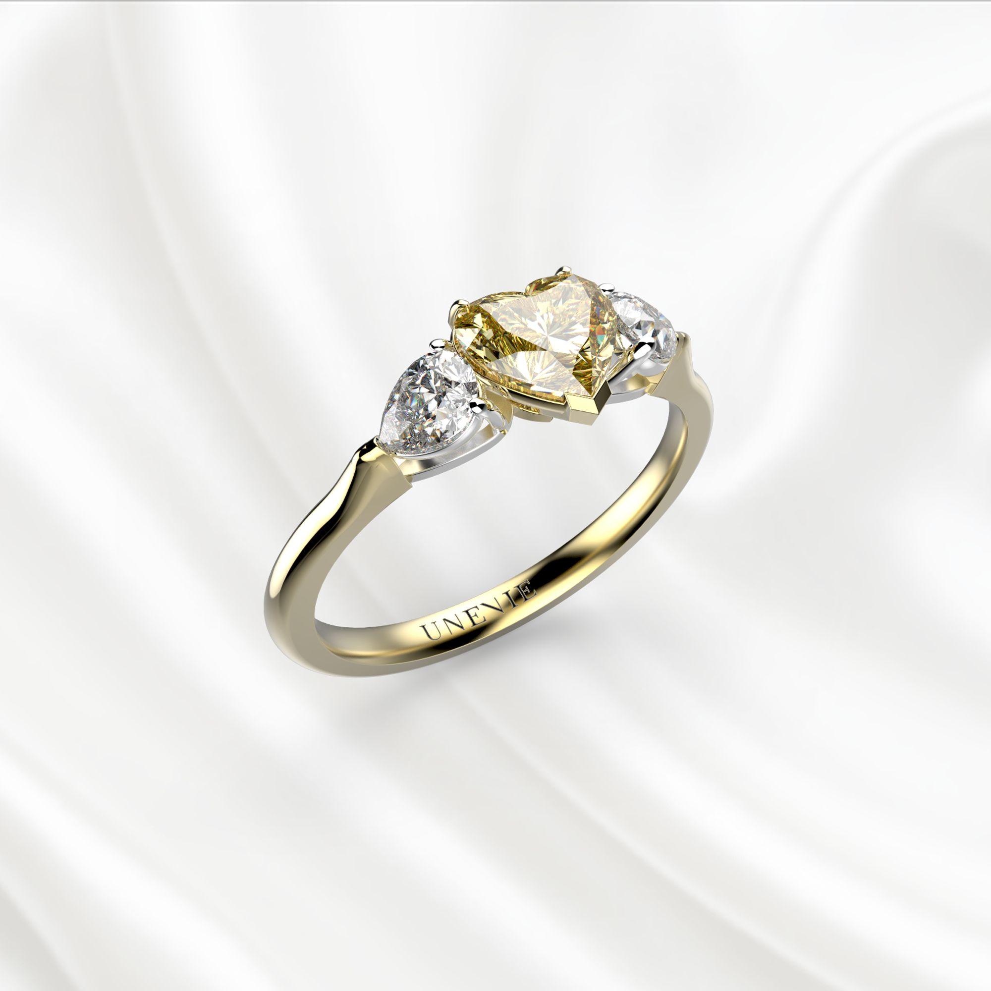 N18 Помолвочное кольцо из золота с желтым бриллиантом 0.5 карат