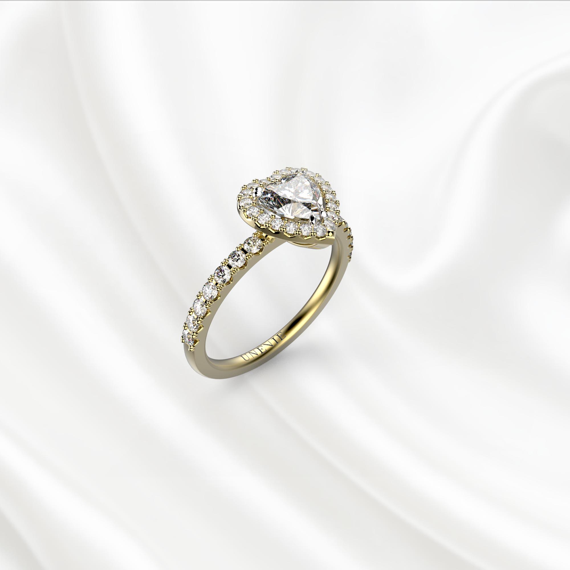 N19 Помолвочное кольцо из желтого золота с бриллиантом 0.35 карат
