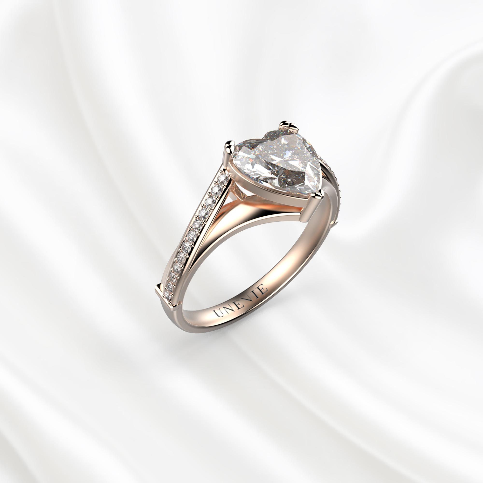 N20 Помолвочное кольцо из розового золота с бриллиантом 0.6 карат