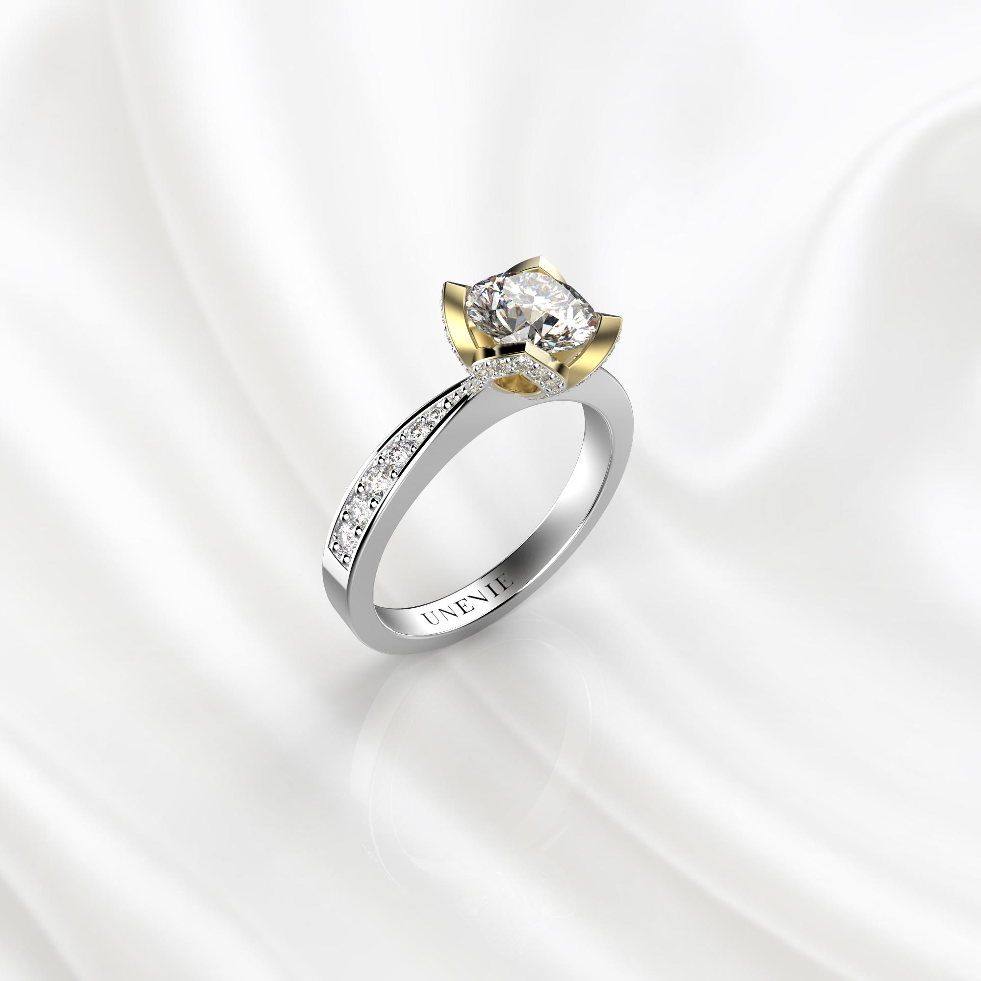 N21 Помолвочное кольцо из бело-желтого золота с бриллиантом 0.3 карат