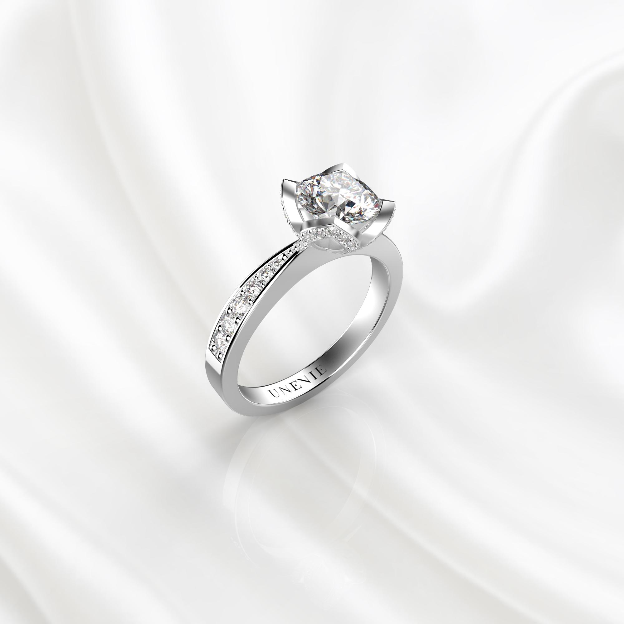 N21 Помолвочное кольцо из белого золота с бриллиантом 0.3 карат