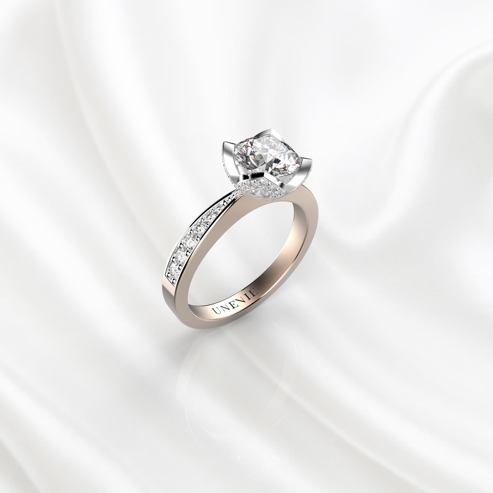 N21 Помолвочное кольцо из розово-белого золота с бриллиантом 0.3 карат