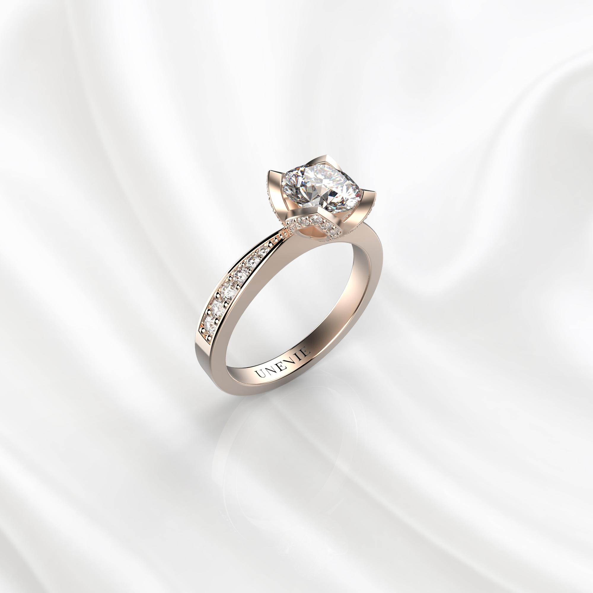 N21 Помолвочное кольцо из розового золота с бриллиантом 0.3 карат