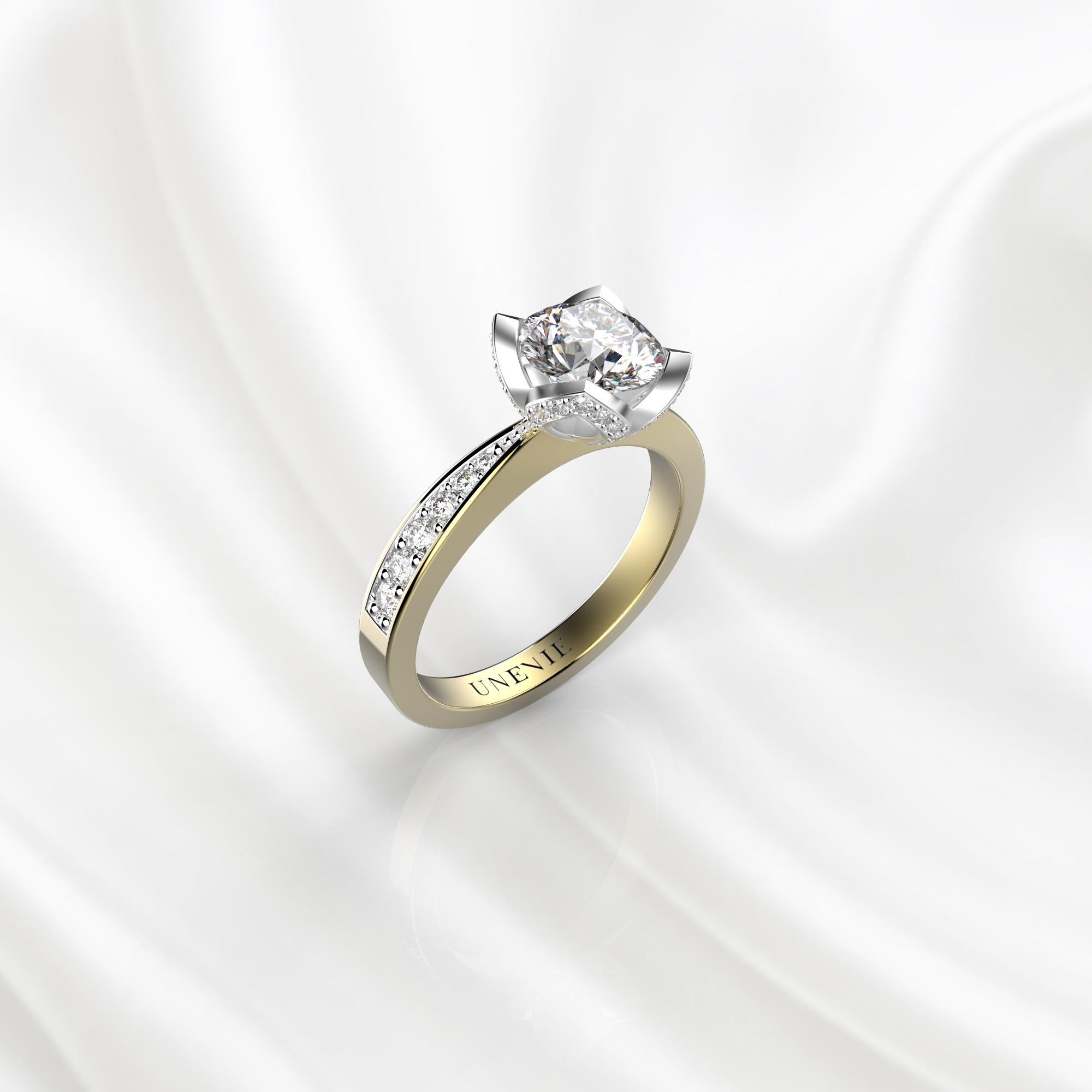 N21 Помолвочное кольцо из желто-белого золота с бриллиантом 0.3 карат