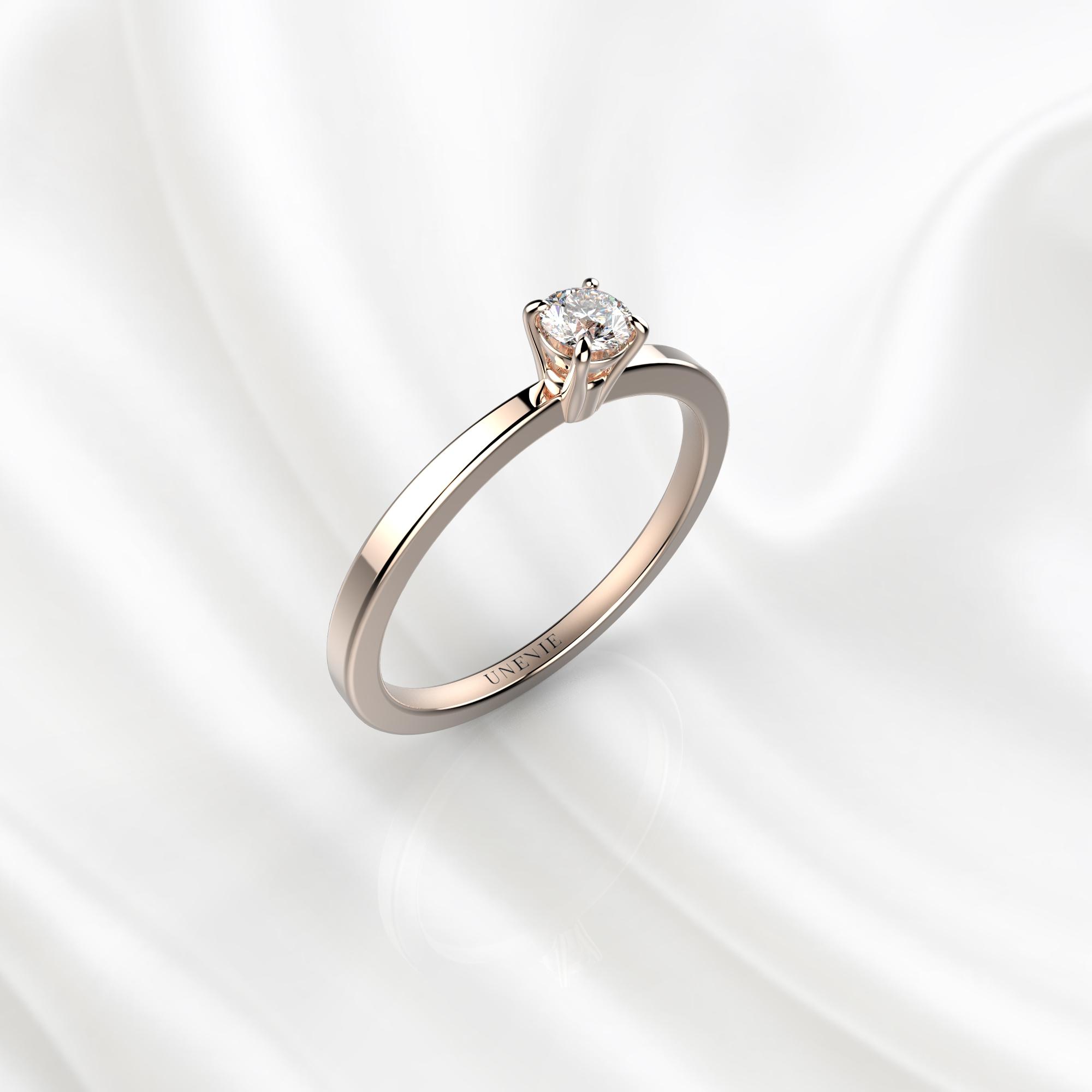N22 Помолвочное кольцо из розового золота с бриллиантом 0.1 карат