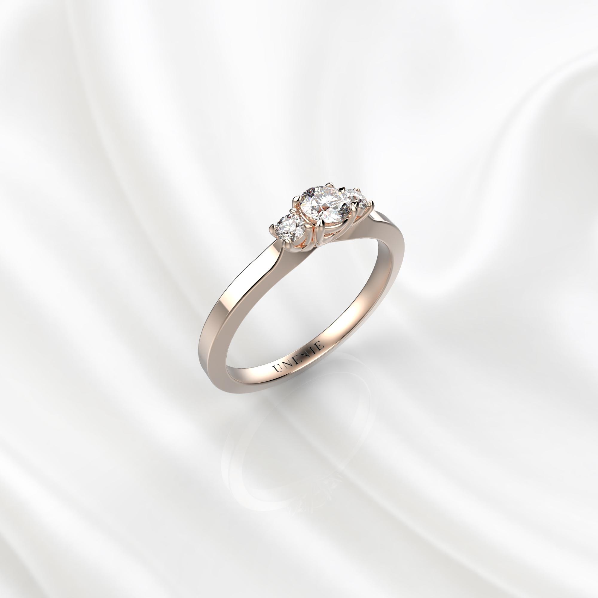 N23 Помолвочное кольцо из розового золота с бриллиантами