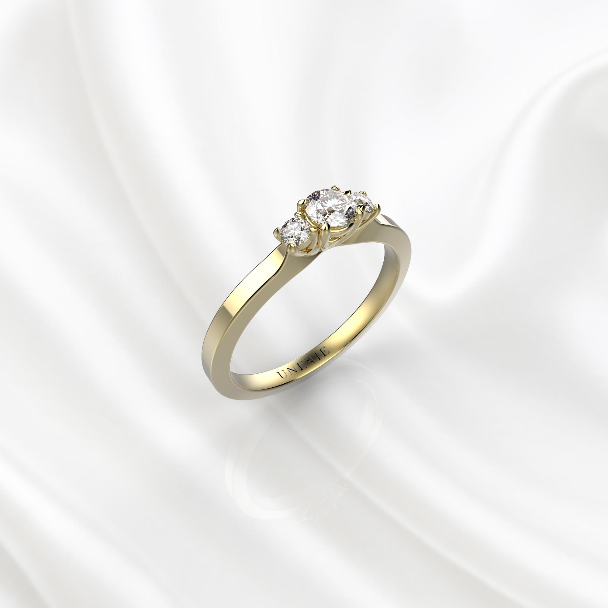 N23 Помолвочное кольцо из желтого золота с бриллиантами