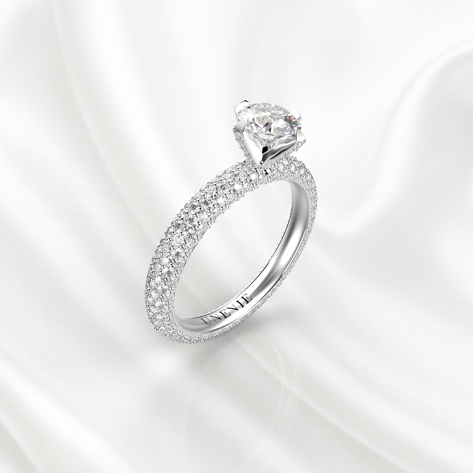 N25 Помолвочное кольцо из белого золота с бриллиантами