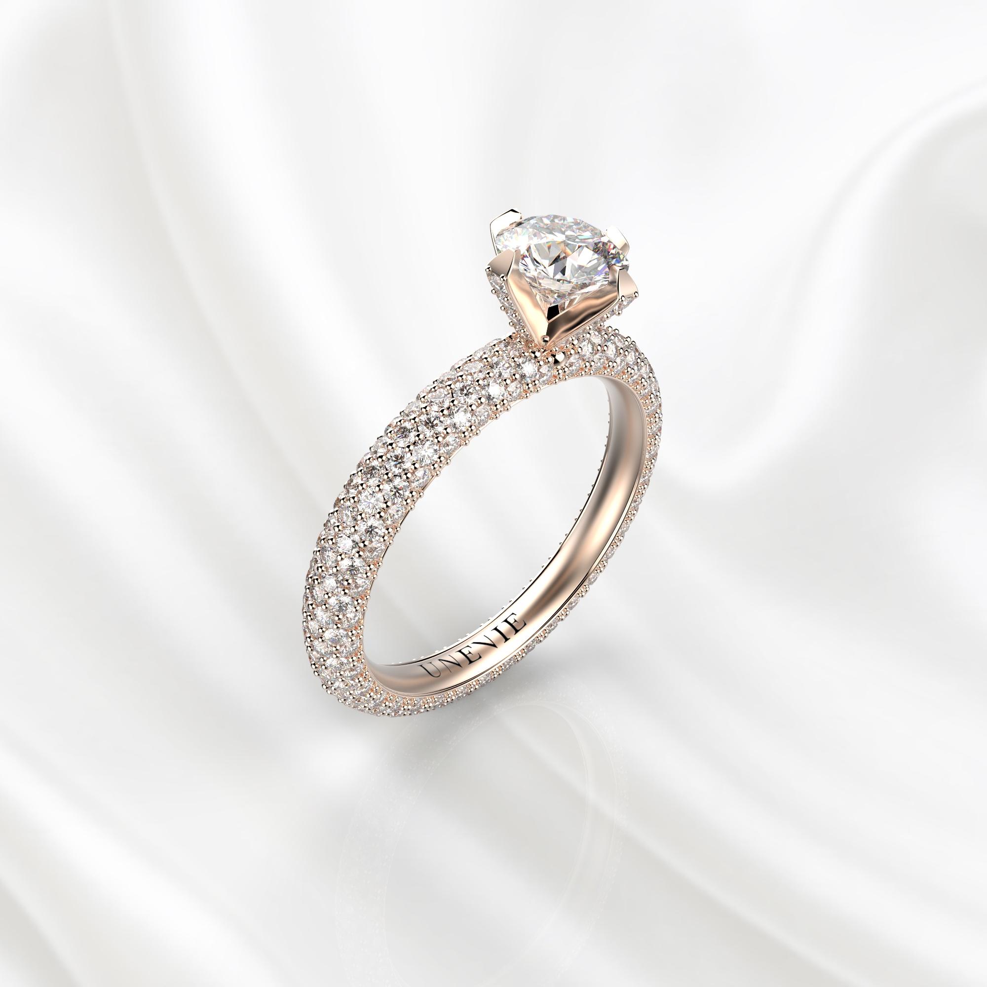 N25 Помолвочное кольцо из розового золота с бриллиантами