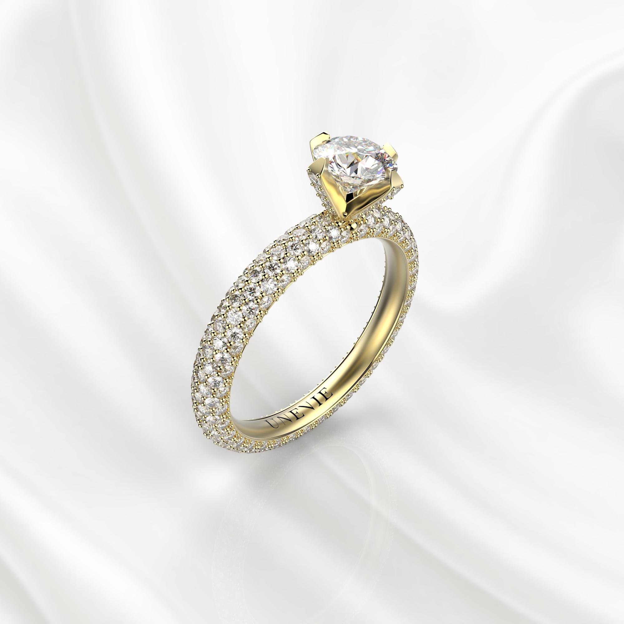 N25 Помолвочное кольцо из желтого золота с бриллиантами