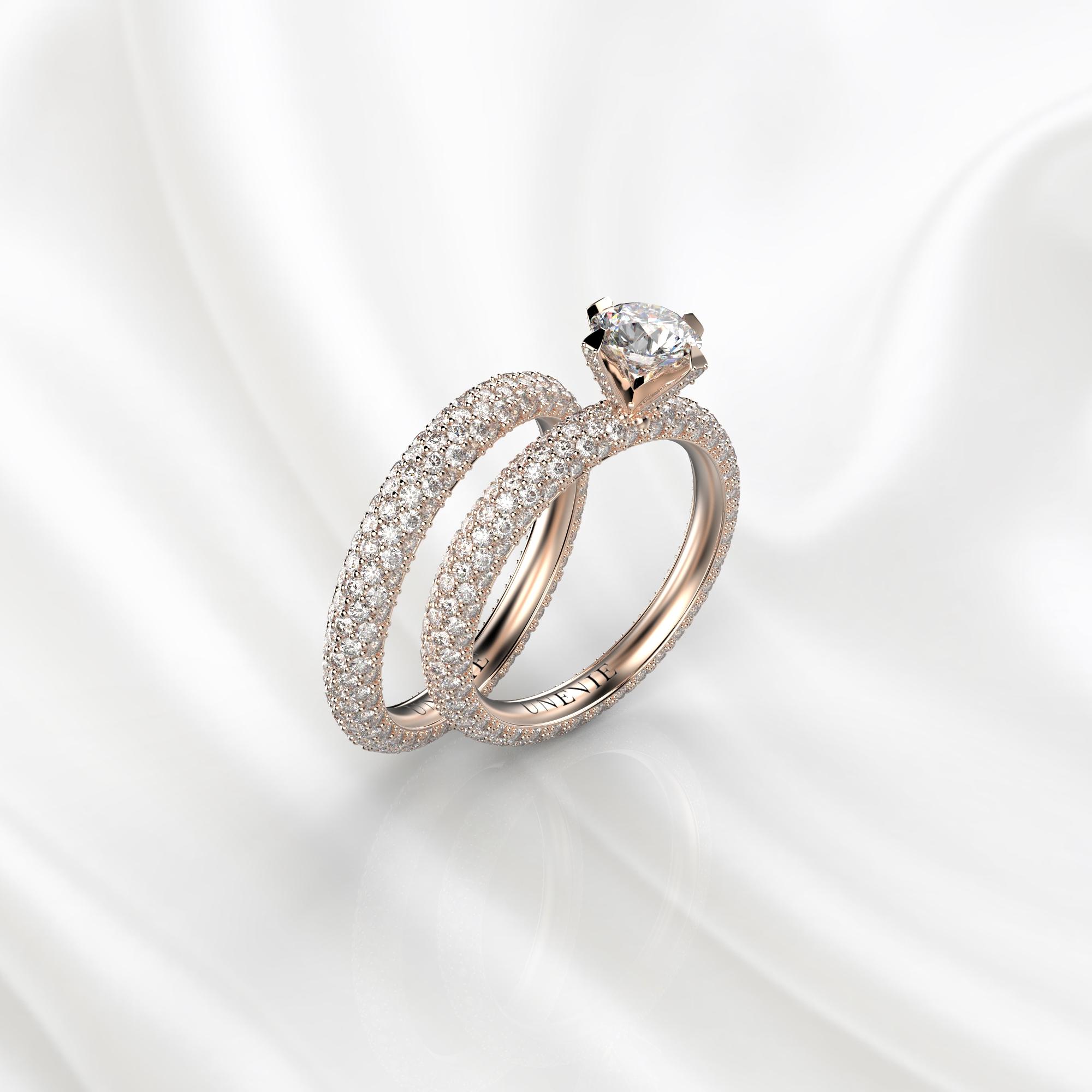 N26 Сет колец для помолвки из розового золота с бриллиантами