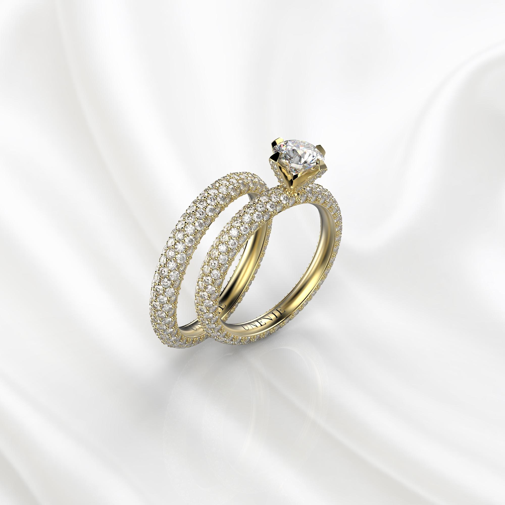 N26 Сет колец для помолвки из желтого золота с бриллиантами