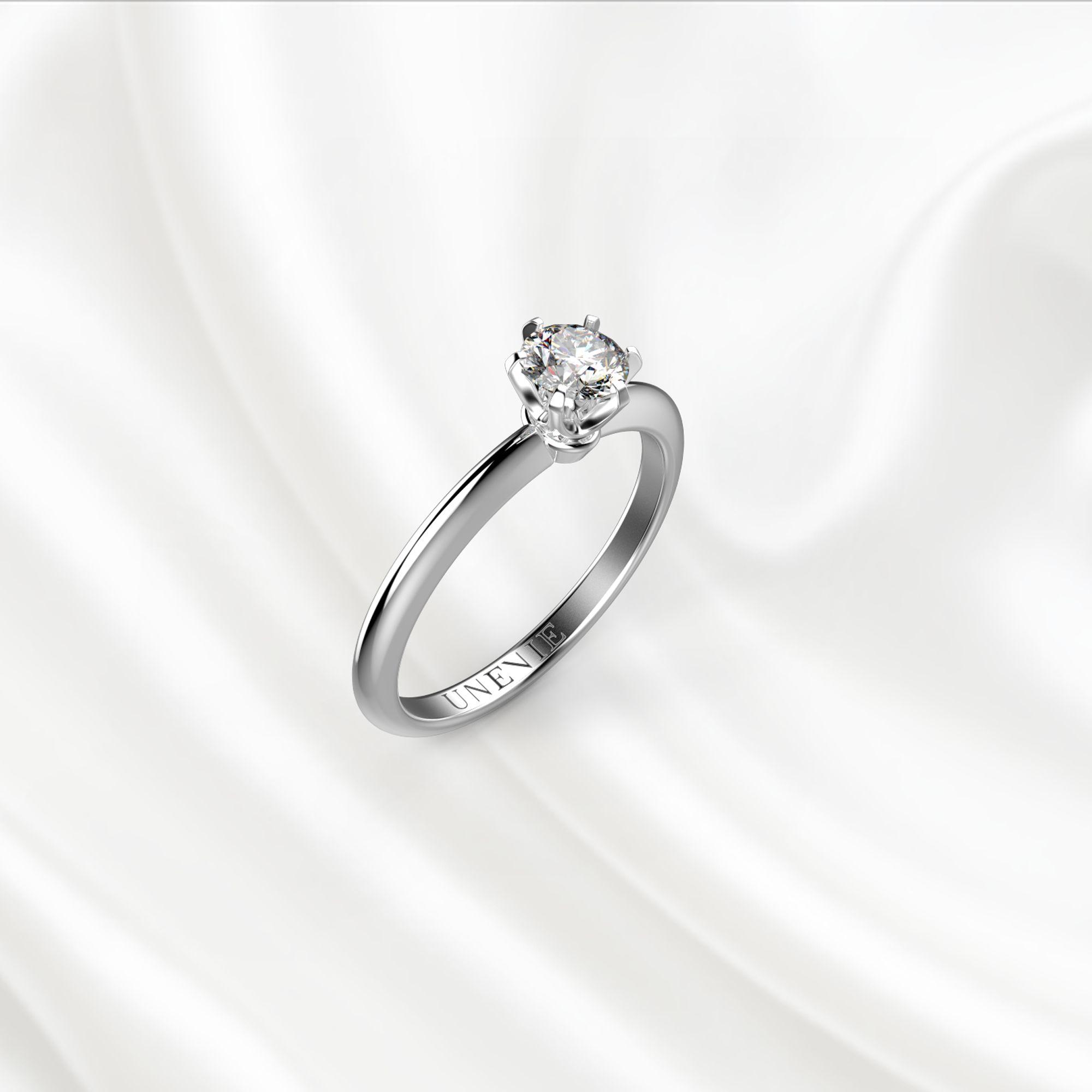 N6-1 Помолвочное кольцо из белого золота с бриллиантом 0.3 карат