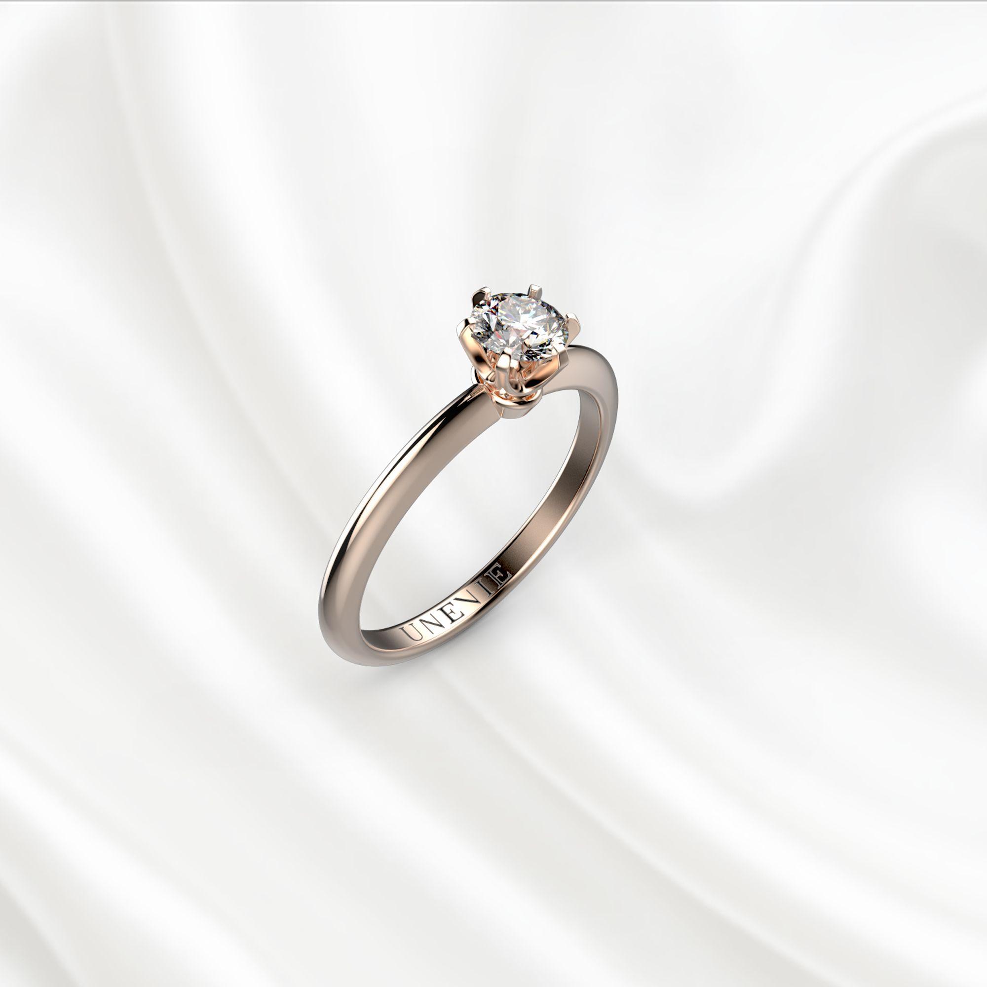 N6-1 Помолвочное кольцо из розового золота с бриллиантом 0.3 карат