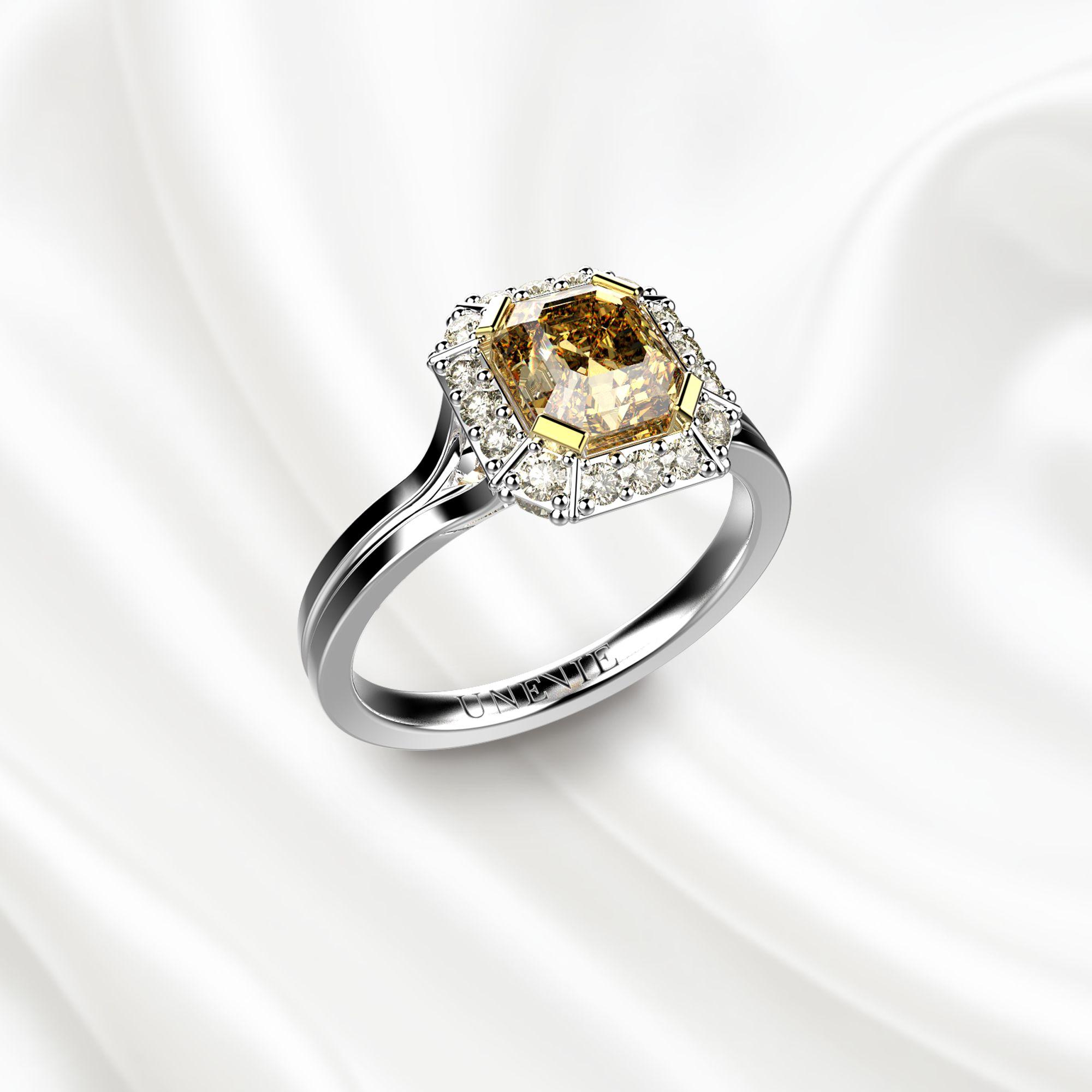 N7 Помолвочное кольцо из белого золота c жёлтым бриллиантом