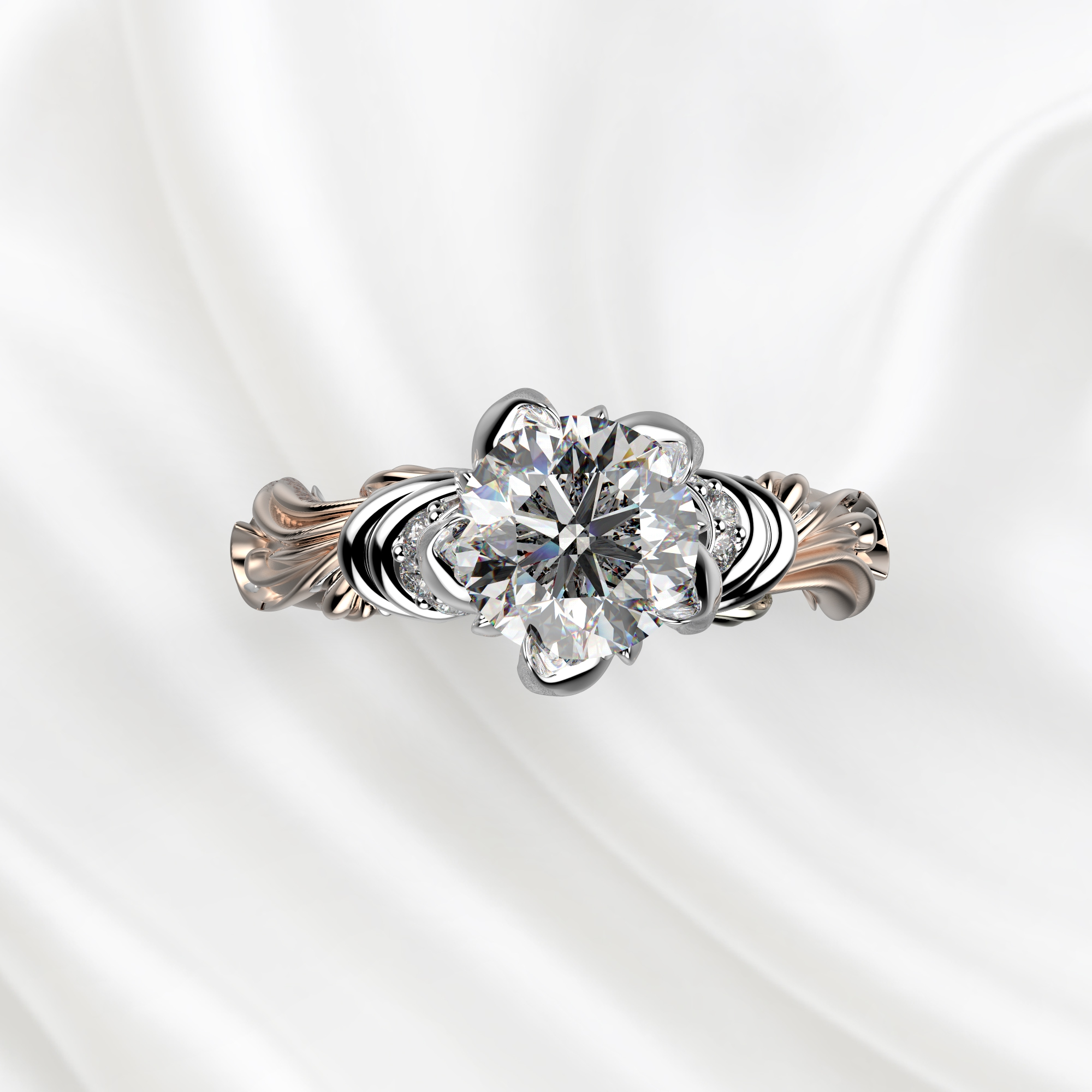 N8 Помолвочное кольцо из розово-белого золота с бриллиантом 0.4 карат