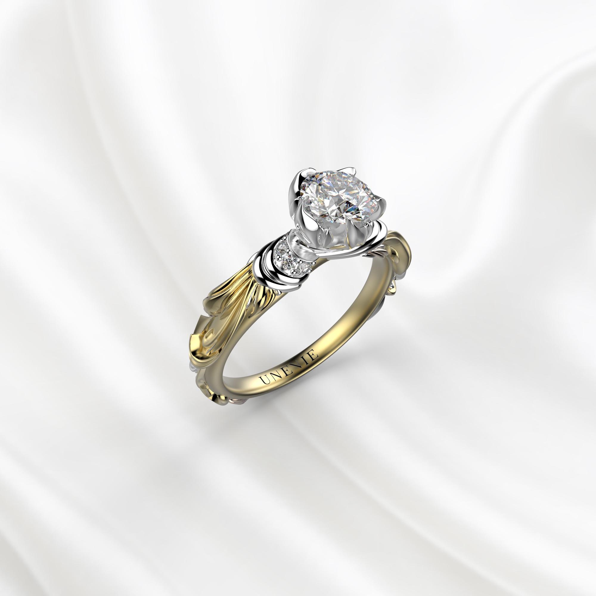 N8 Помолвочное кольцо из желто-белого золота с бриллиантом 0.4 карат
