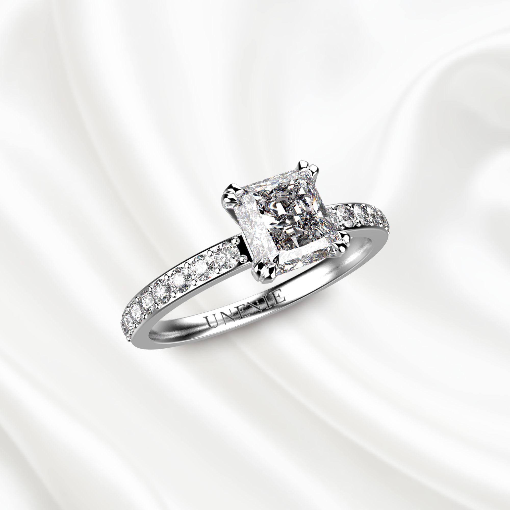 N5 Помолвочное кольцо из белого золота с бриллиантом 1 карат