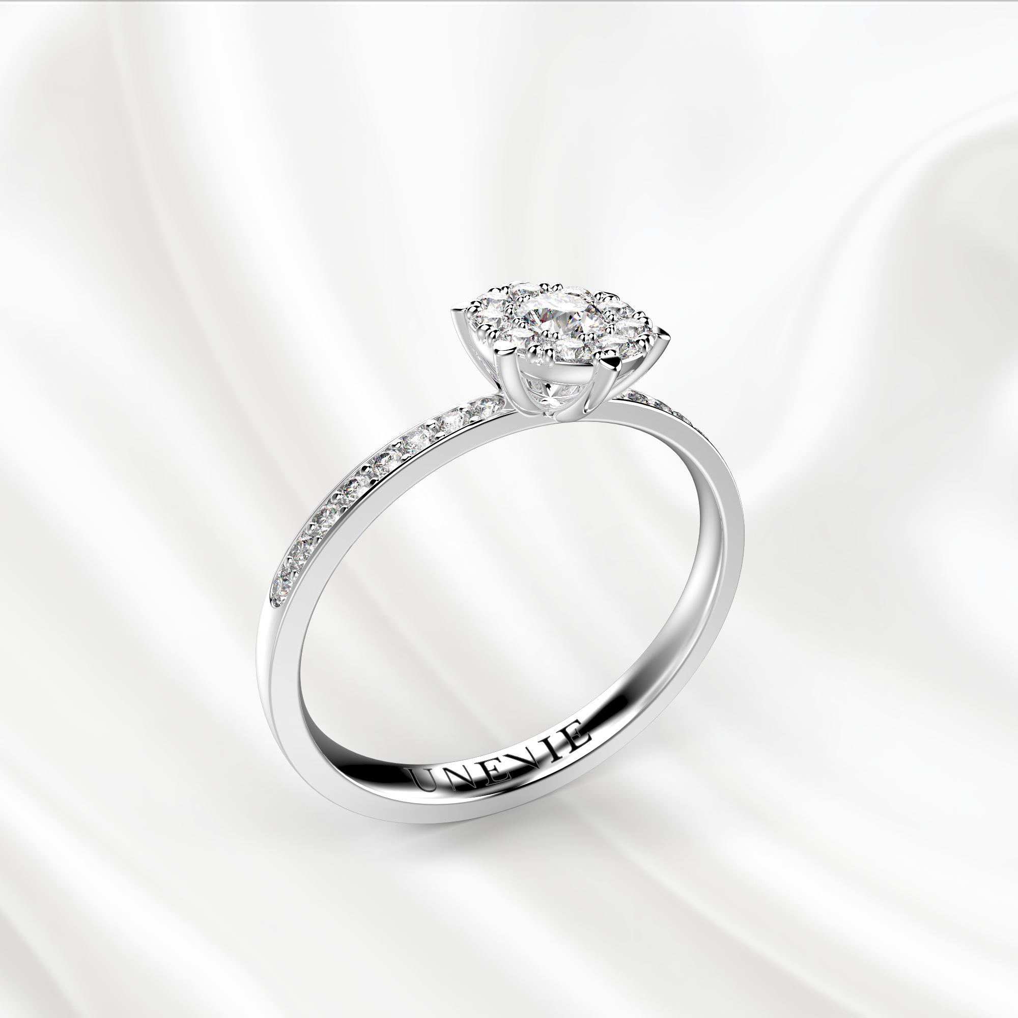 N27 Помолвочное кольцо из белого золота с бриллиантами