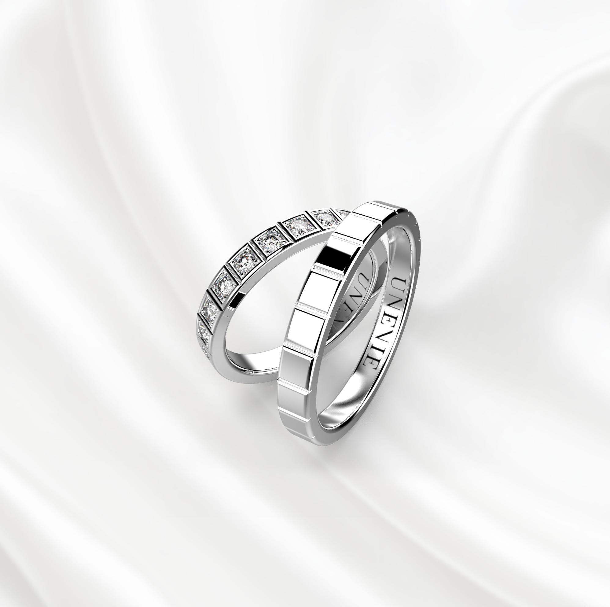 NV26 Обручальные кольца из белого золота с бриллиантами