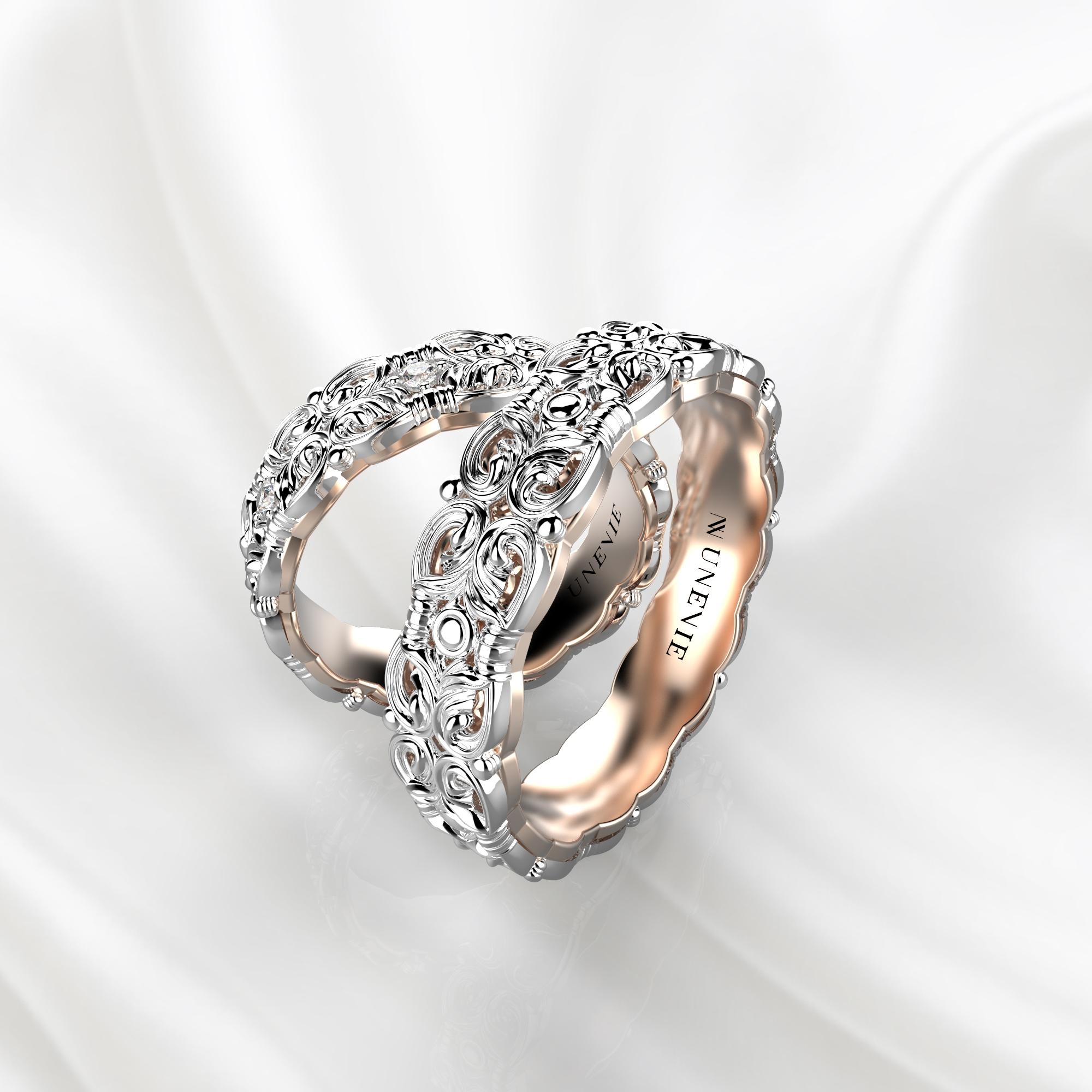NV67 Парные обручальные кольца из бело-розового золота с бриллиантами