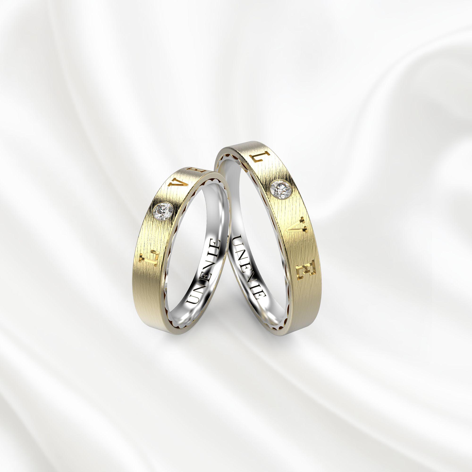 NV18 Обручальные кольца из желто-белого золота