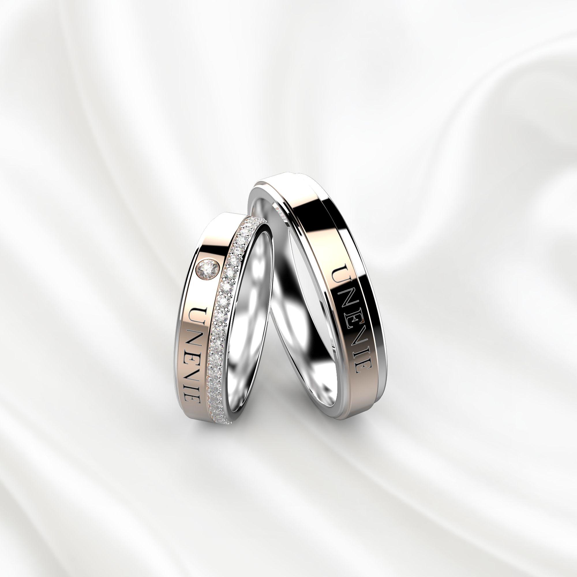 NV16 Обручальные кольца из розово-белого золота