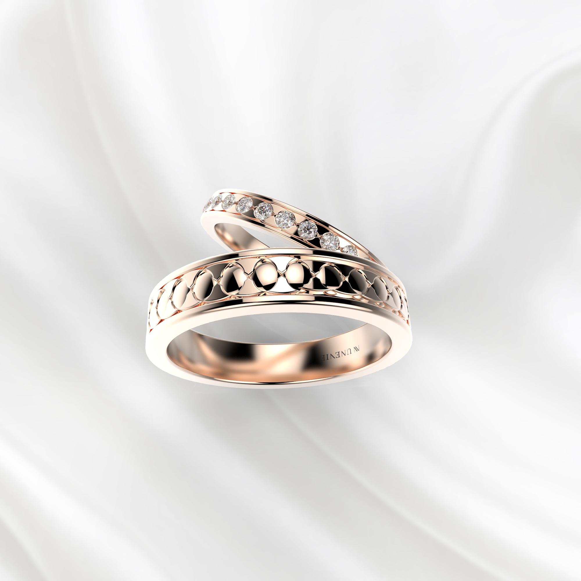 NV53 Парные обручальные кольца из розового золота с бриллиантами
