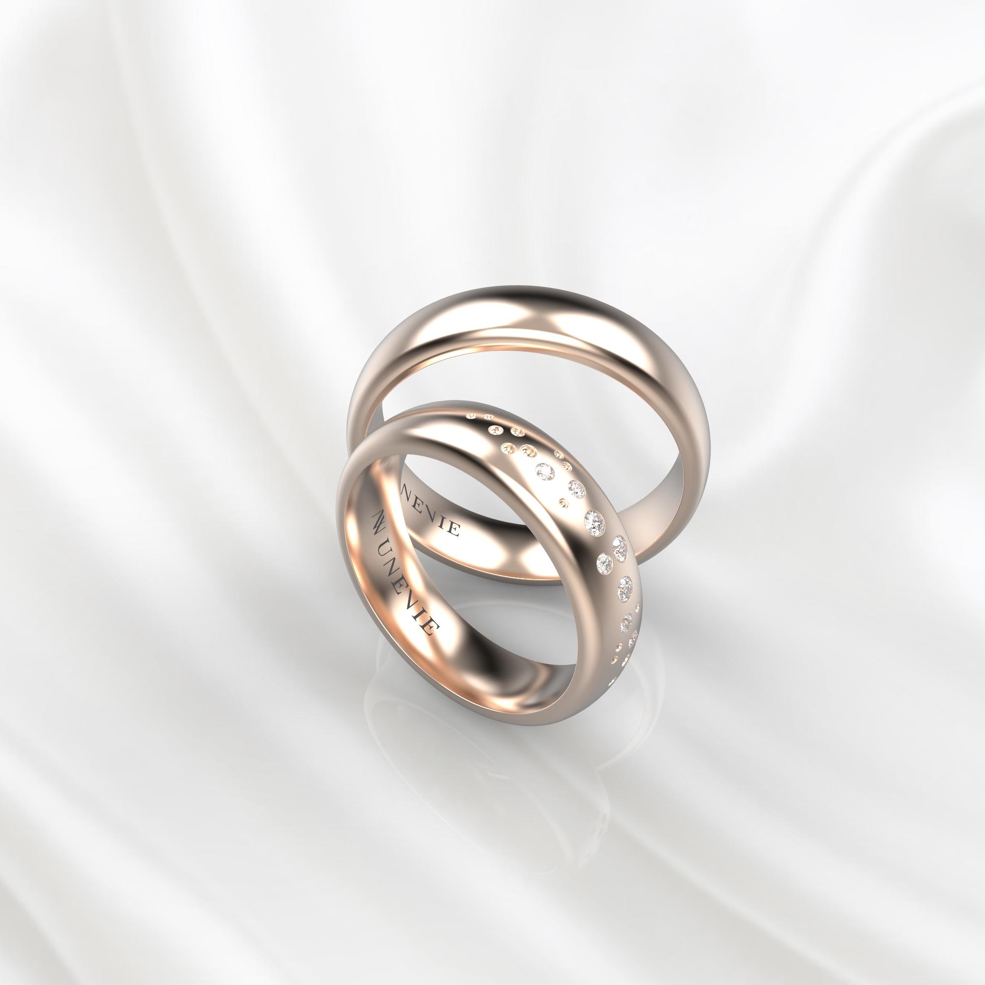 NV54 Парные обручальные кольца из розового золота с бриллиантами