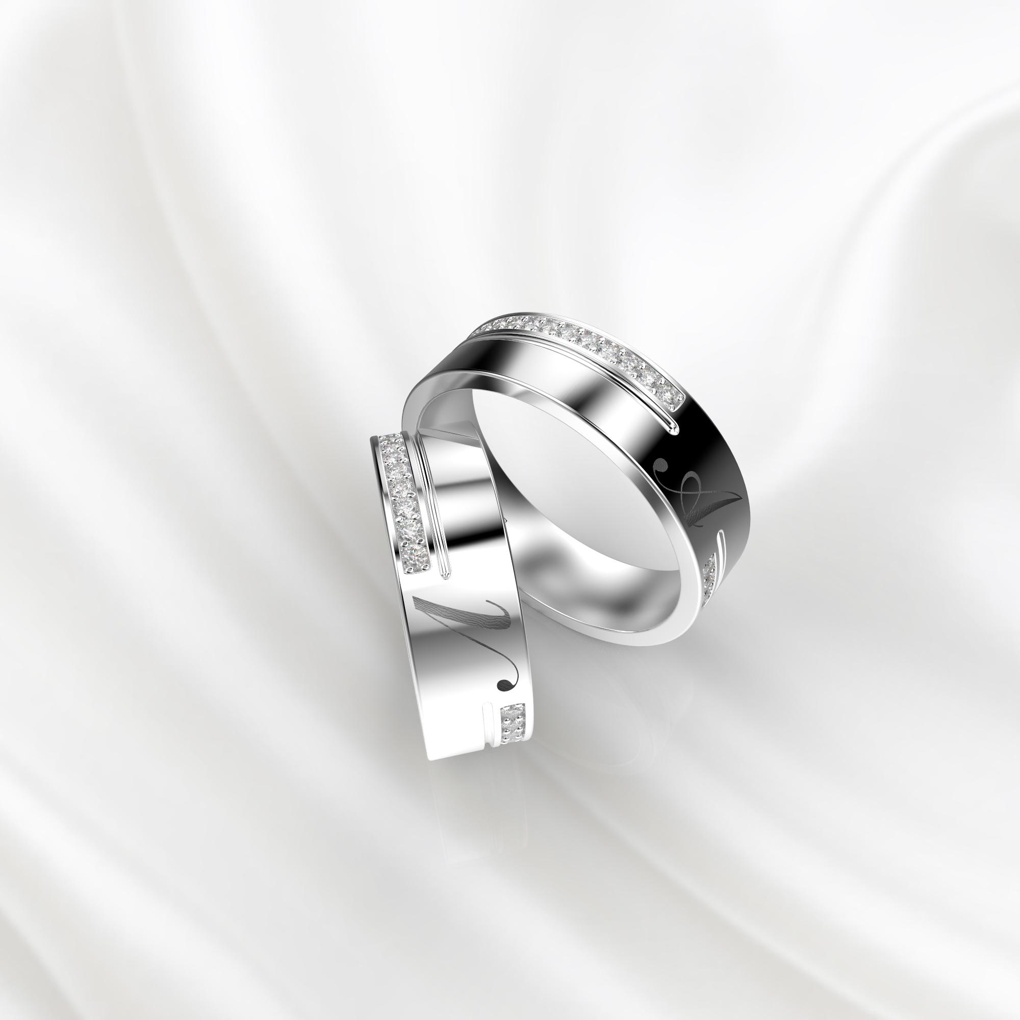 NV61 Парные обручальные кольца из белого золота с гравировкой