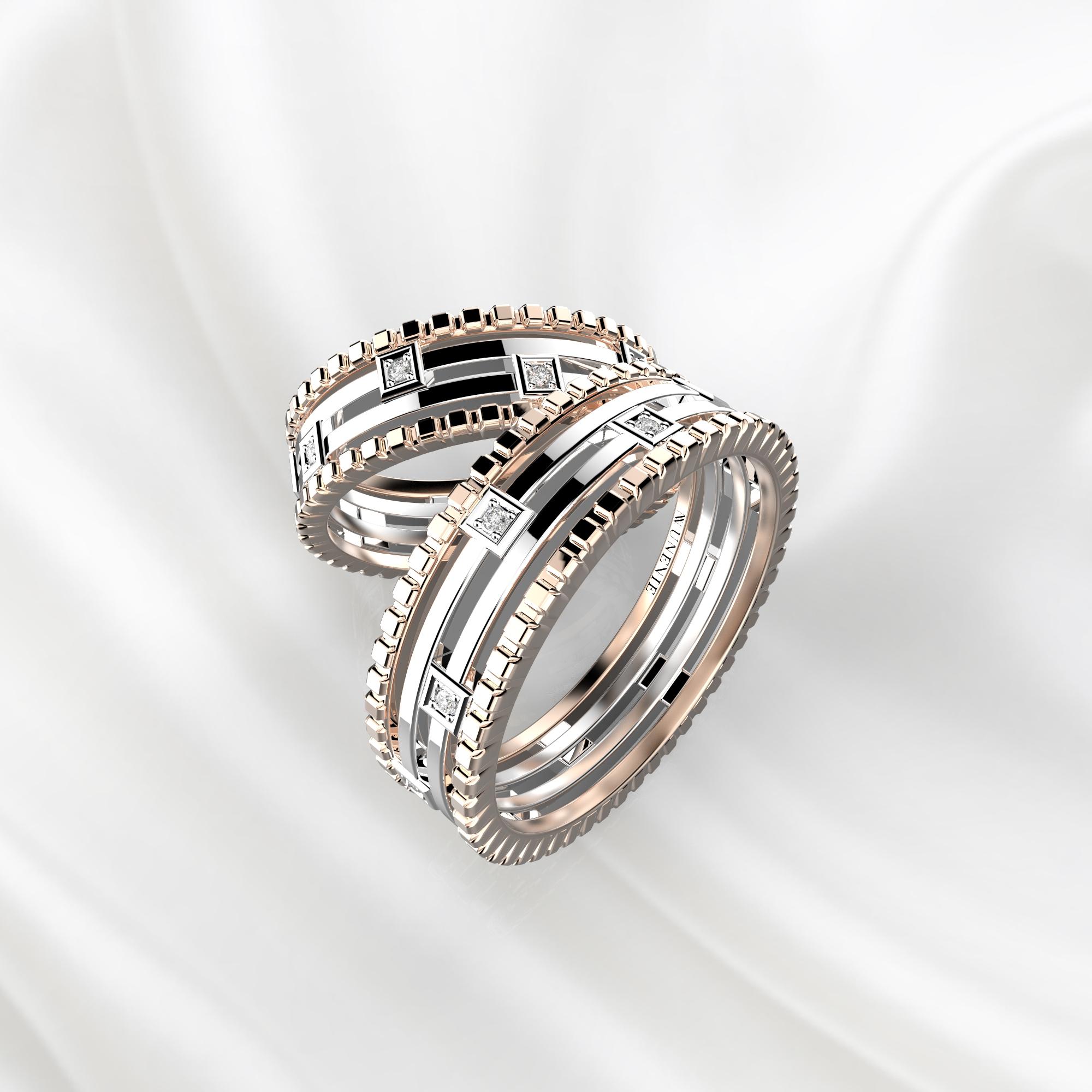 Парные дизайнерские кольца из розово-белого золота