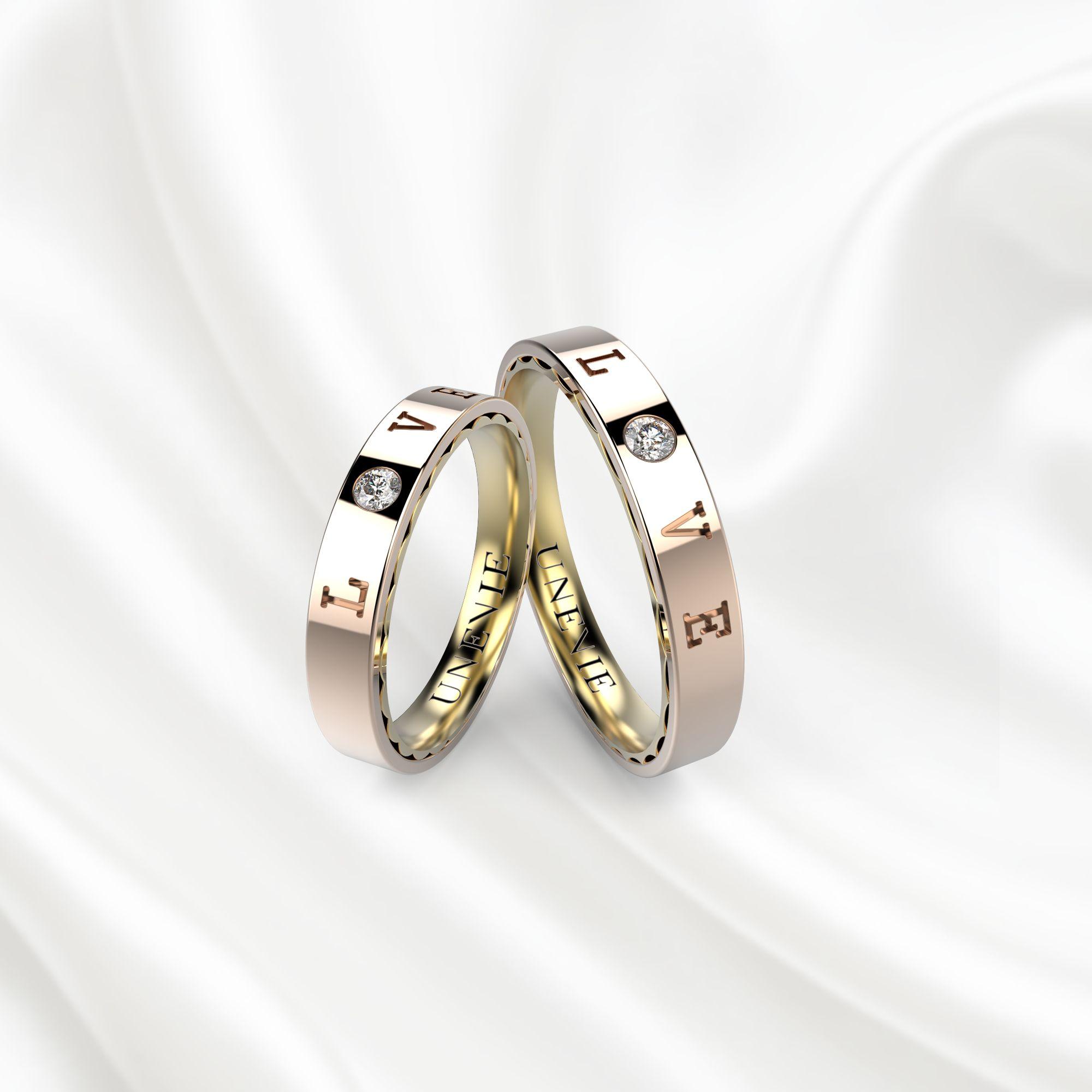NV18 Обручальные кольца из розово-желтого золота