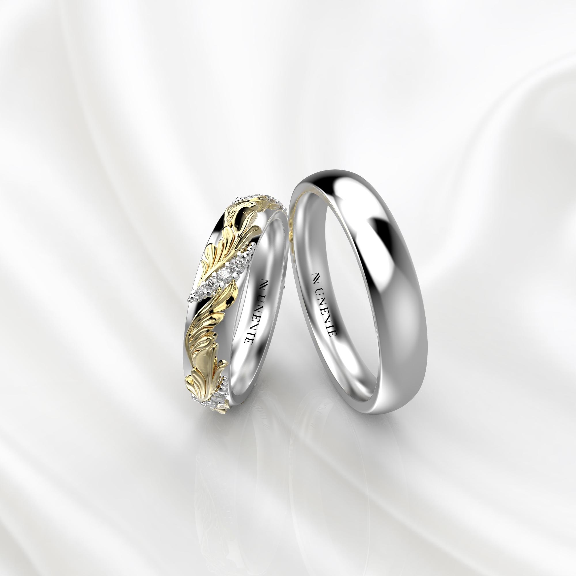 Ажурные обручальные кольца желто-белого золота