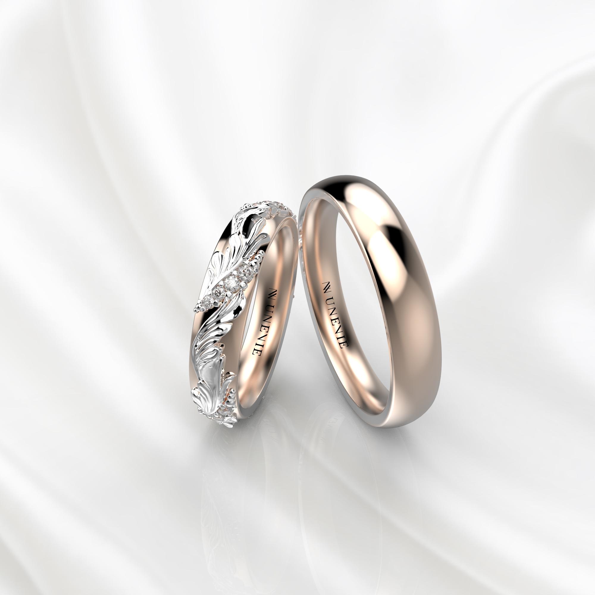 Ажурные обручальные кольца из розово-белого золота с бриллиантами