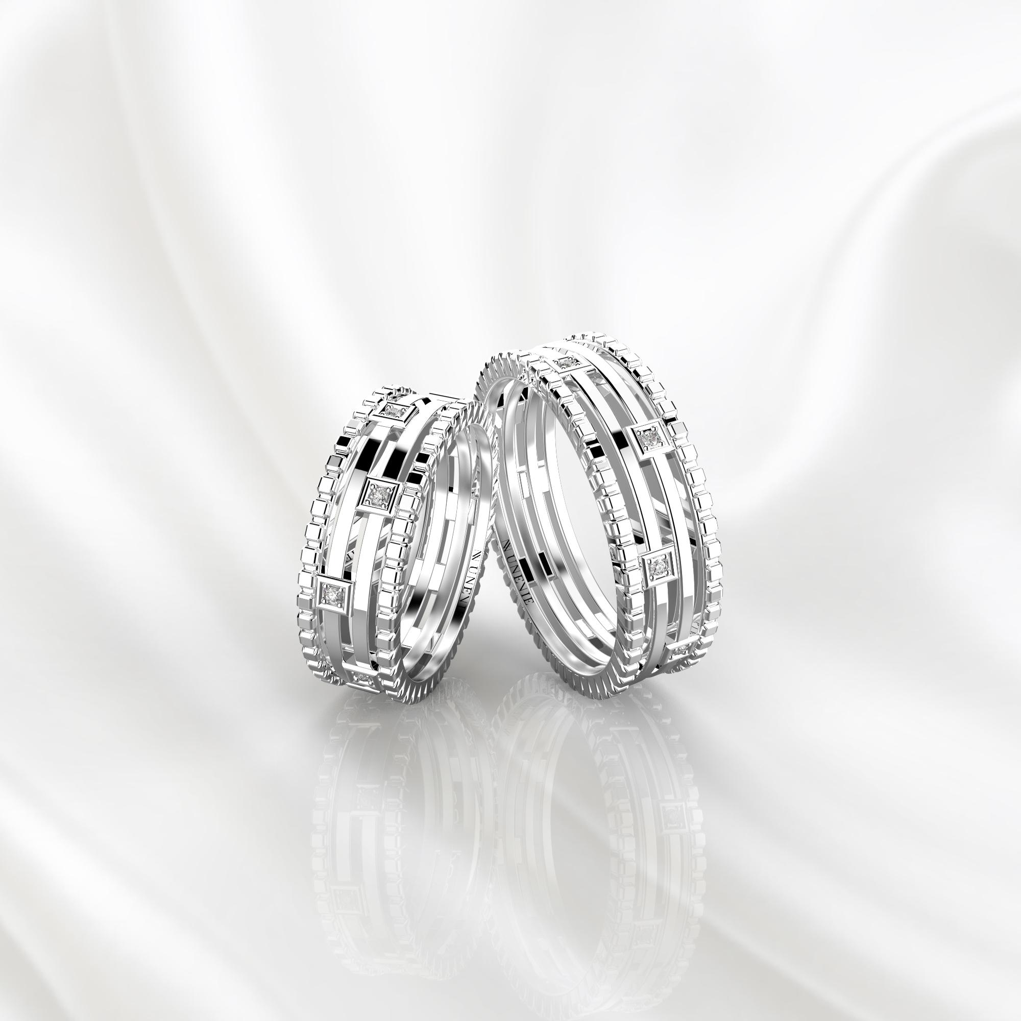 Парные дизайнерские кольца из белого золота