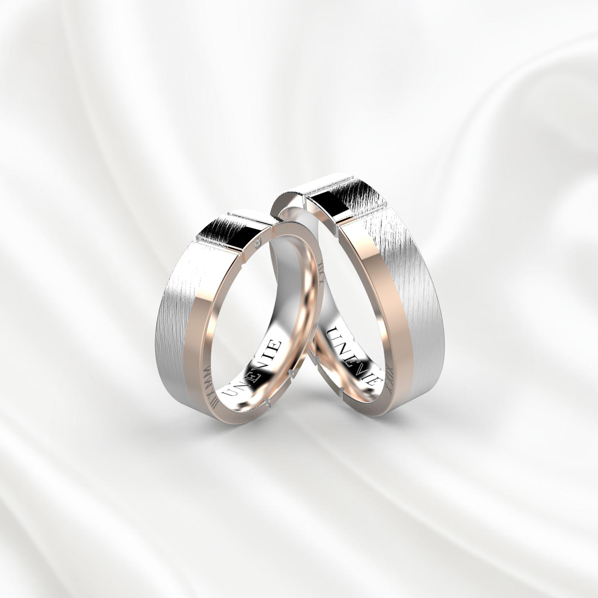 NV17 Обручальные кольца из бело-розового золота