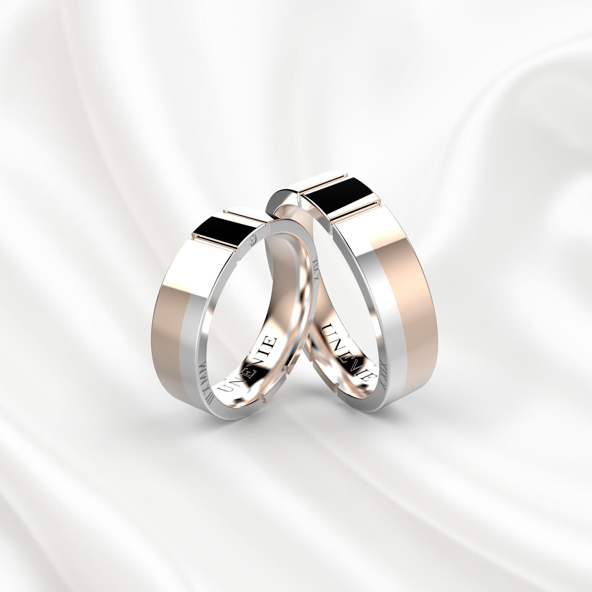 NV17 Обручальные кольца из розово-белого золота