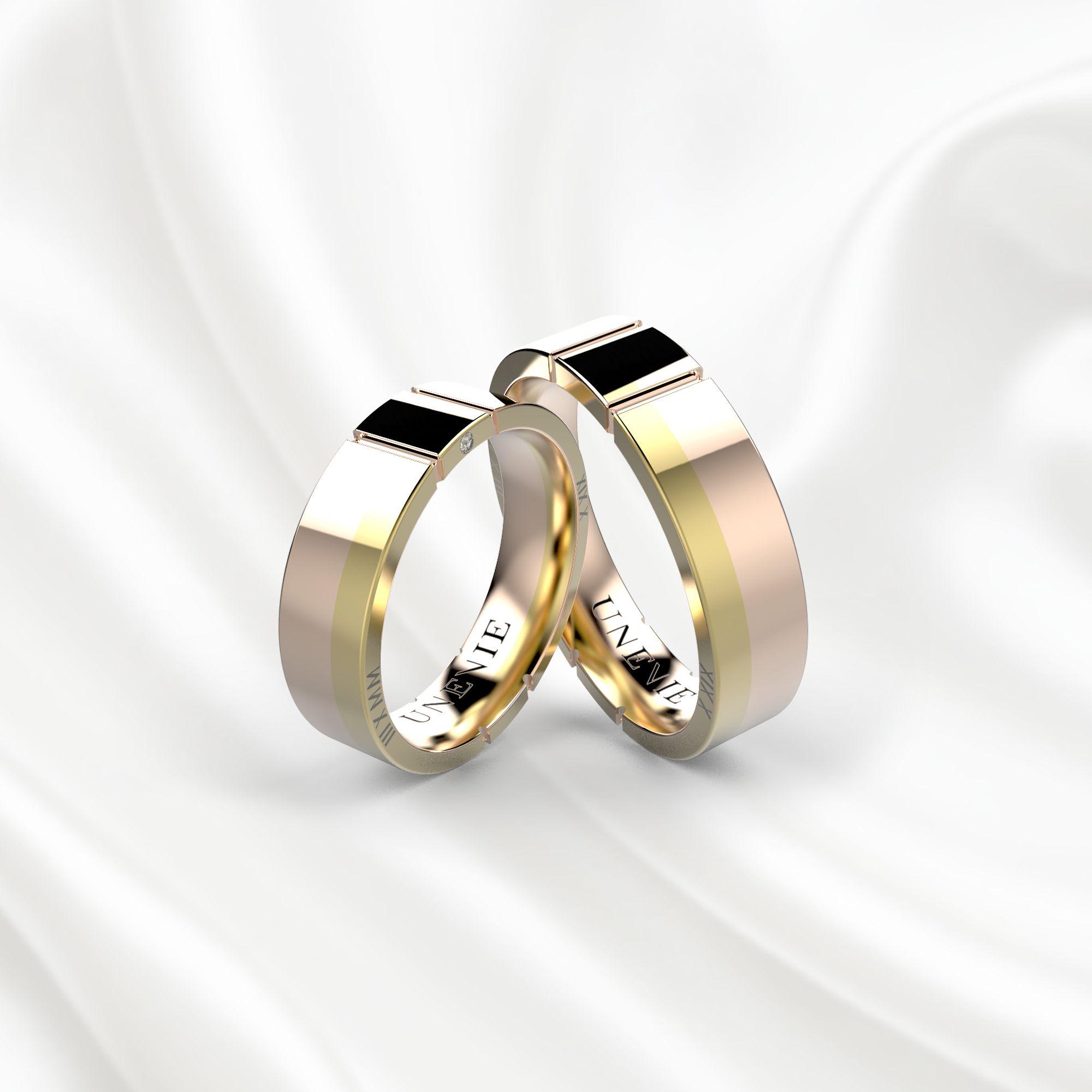 NV17 Обручальные кольца из розово-желтого золота