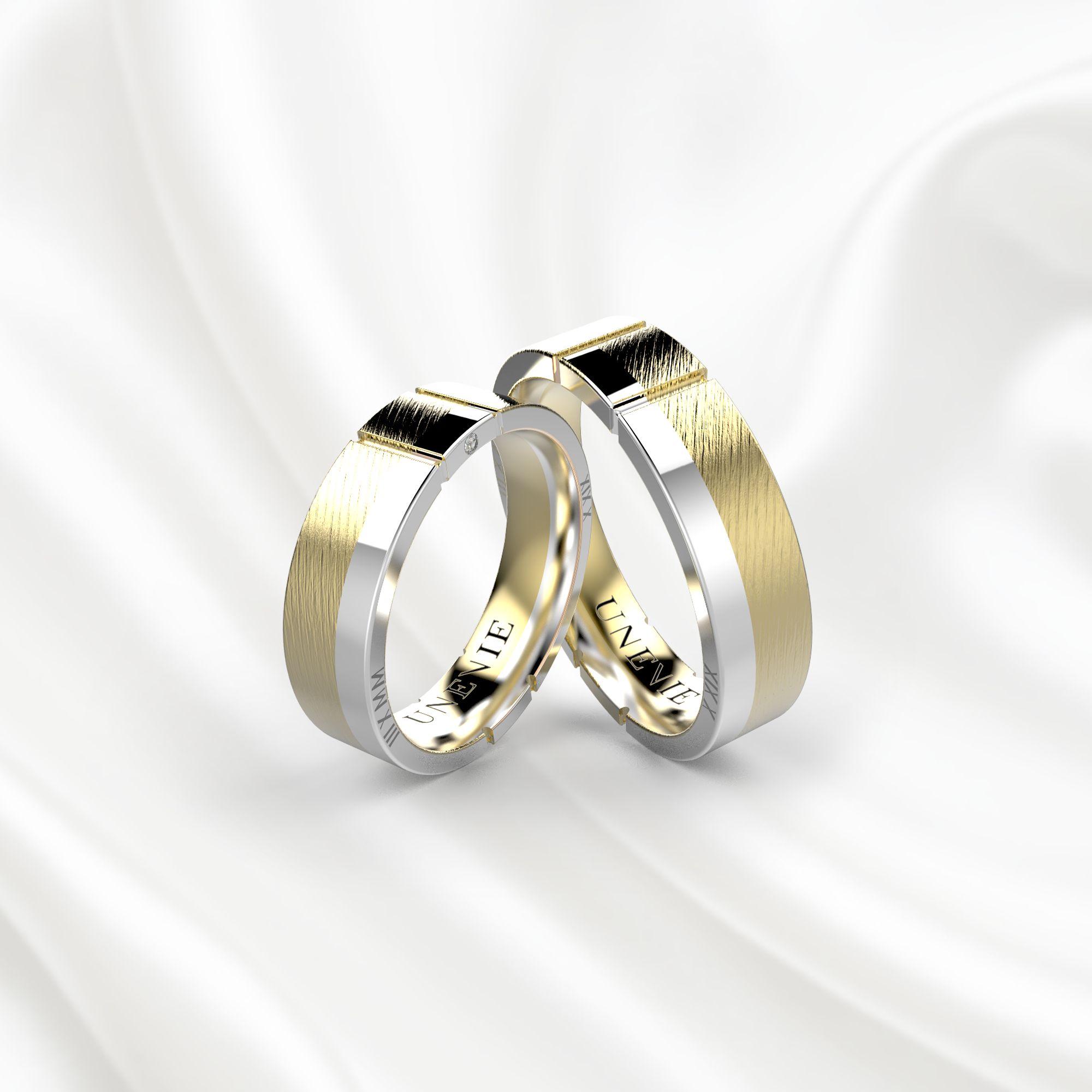 NV17 Обручальные кольца из желто-белого золота