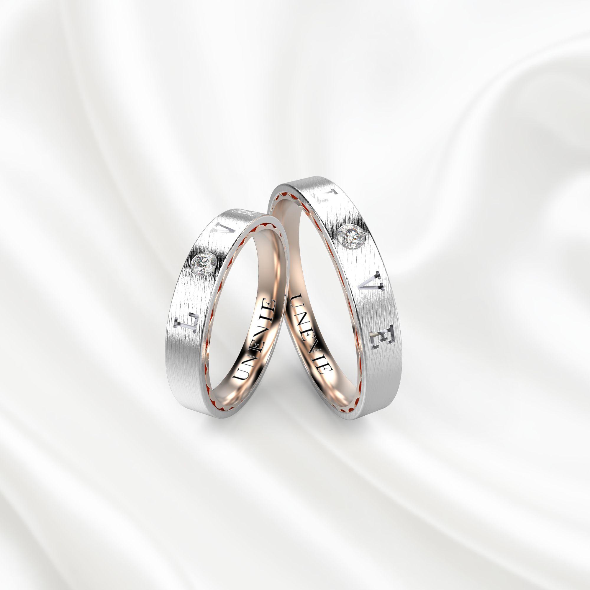 NV18 Обручальные кольца из бело-розового золота
