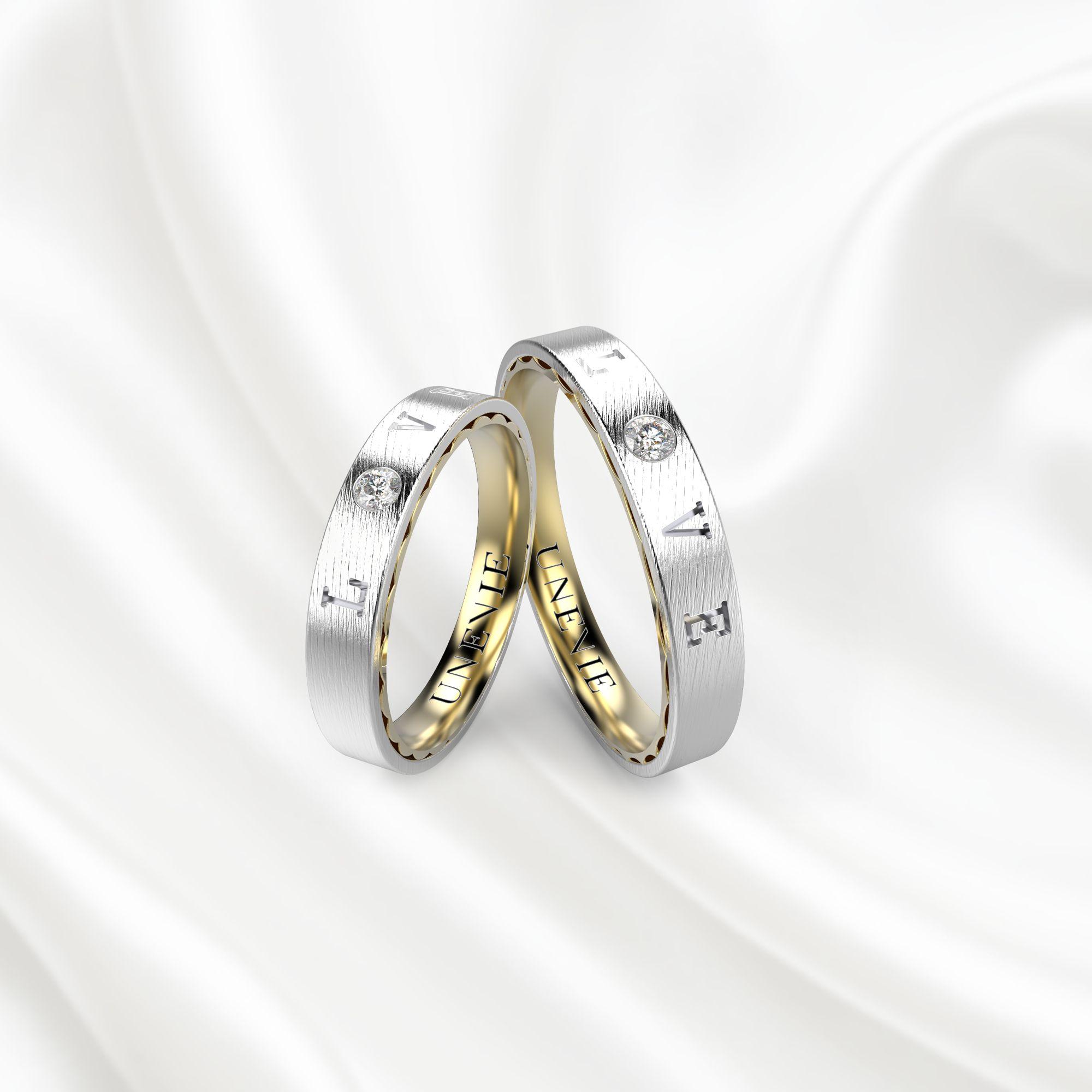 NV18 Обручальные кольца из бело-желтого золота