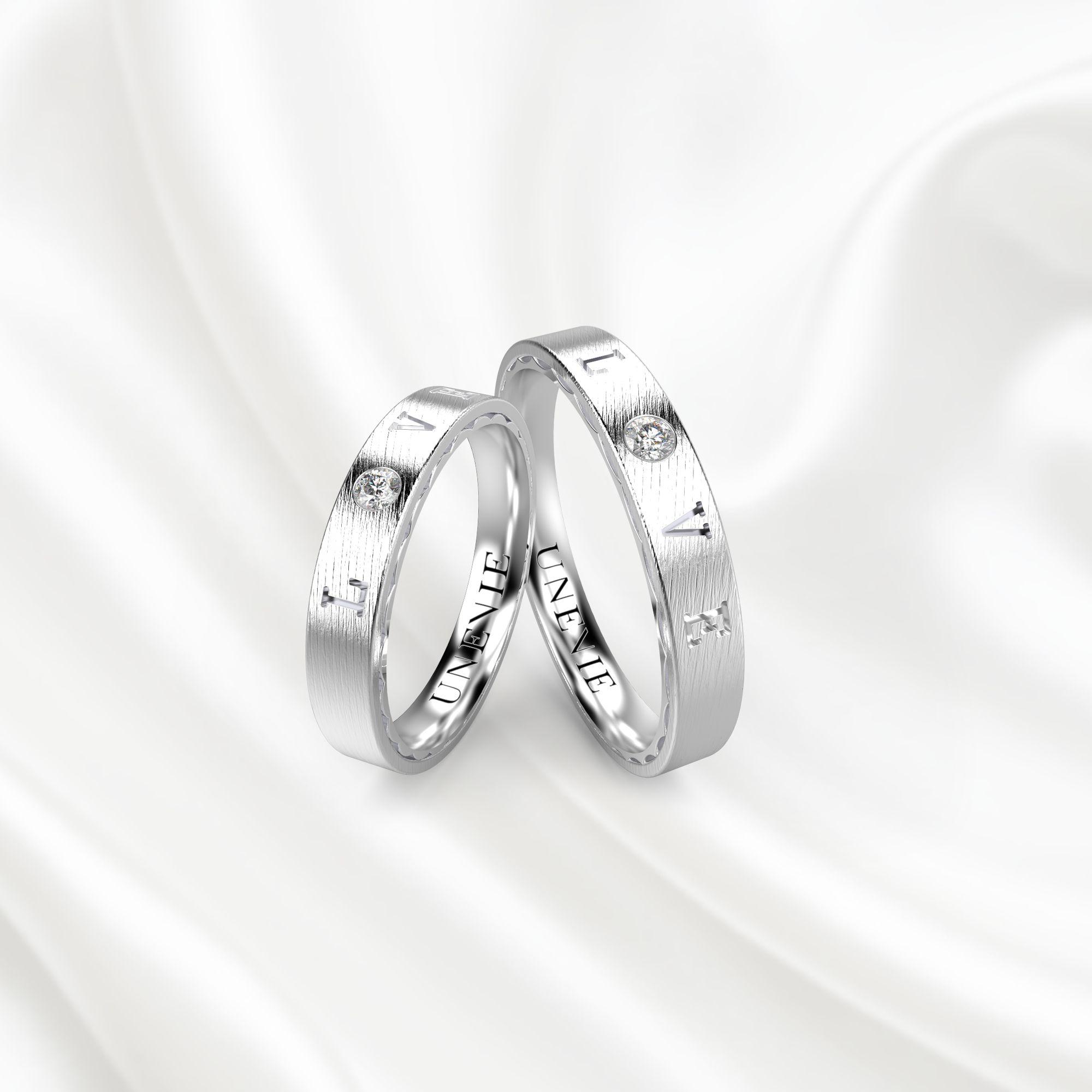 NV18 Обручальные кольца из белого золота