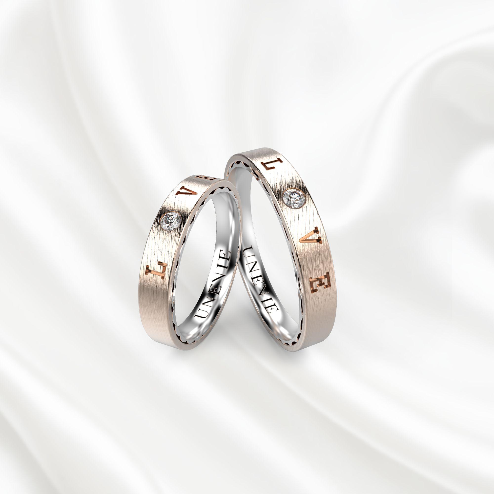 NV18 Обручальные кольца из розово-белого золота