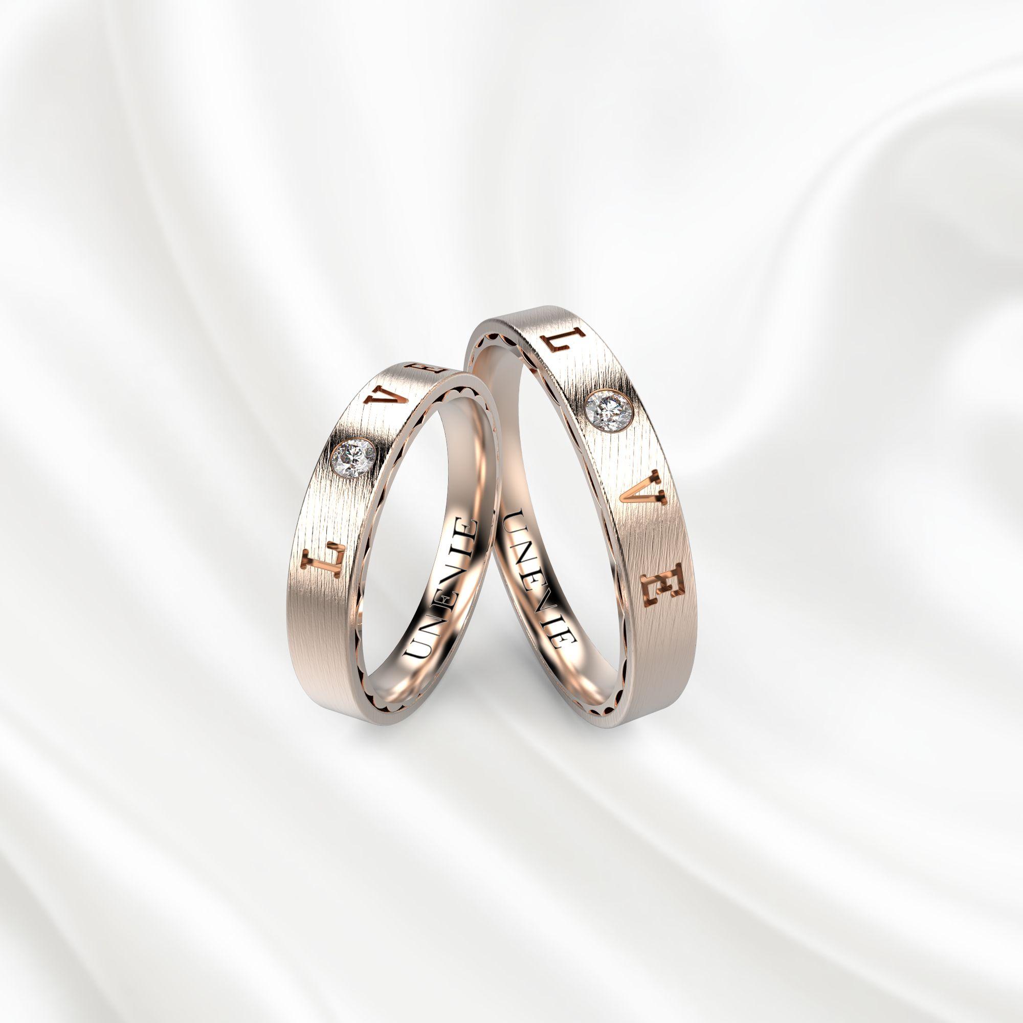 NV18 Обручальные кольца из розового золота