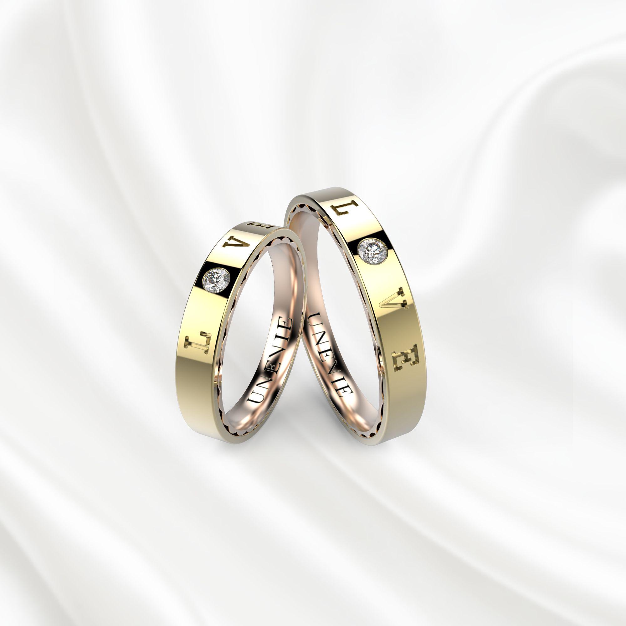 NV18 Обручальные кольца из желто-розового золота
