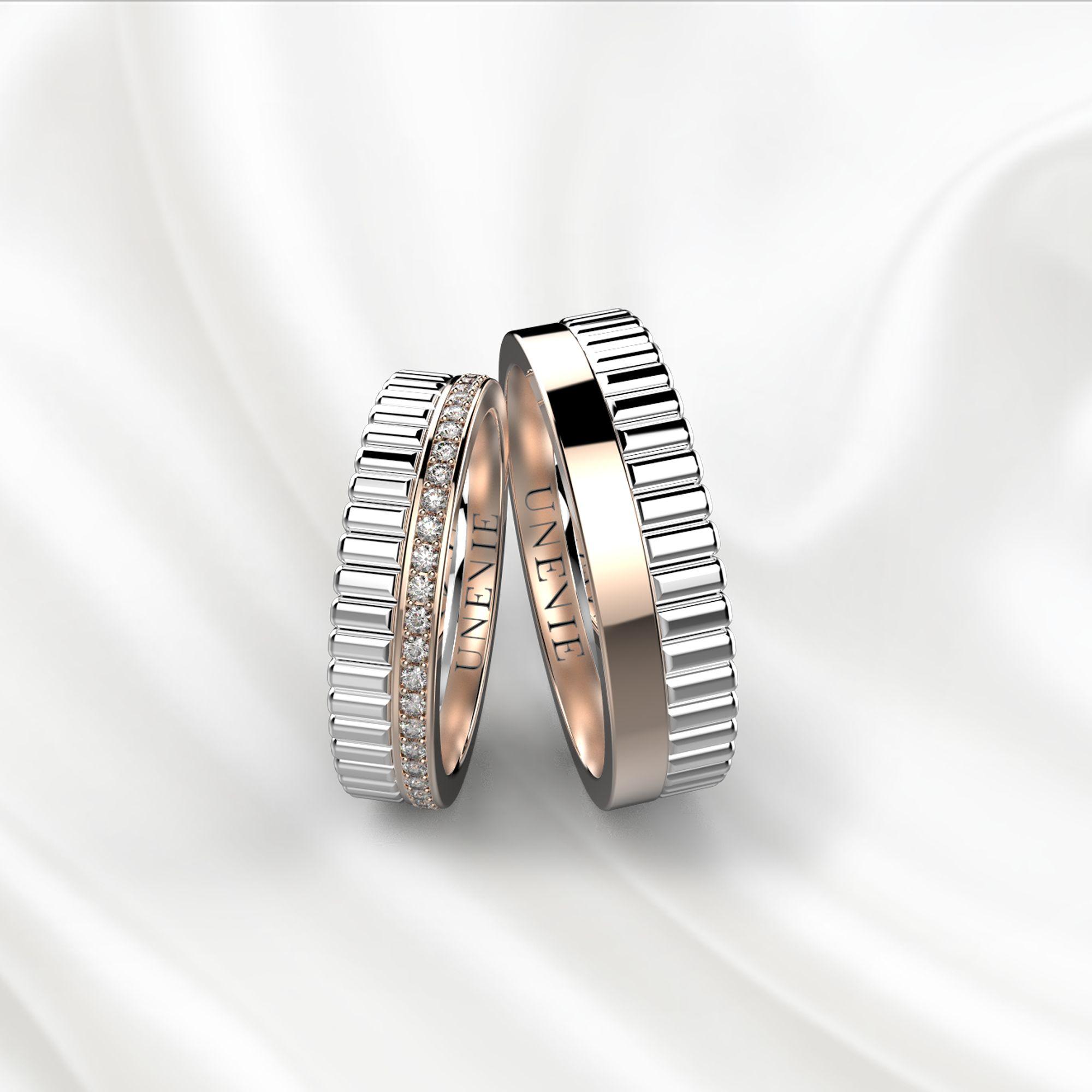 NV24 Обручальные кольца из бело-розового золота с бриллиантами